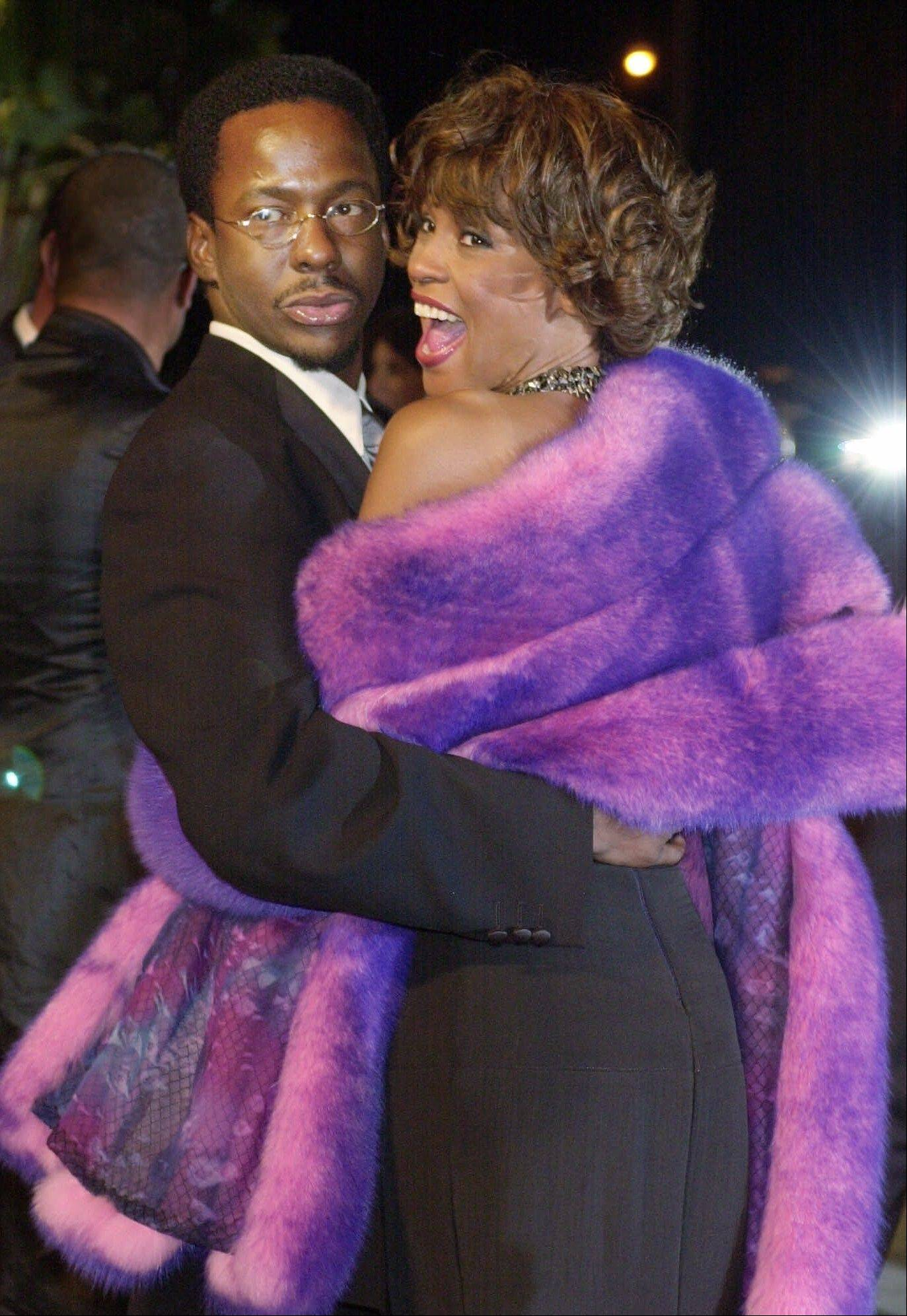 On March 25, 2001, Bobby Brown and his then-wife, Whitney Houston, arrived at Vanity Fair's Oscar party at Morton's in Hollywood. Houston, who ruled as pop music's queen until her majestic voice was ravaged by drug use and her regal image was ruined by erratic behavior and a tumultuous marriage to singer Bobby Brown, died Saturday. She was 48.