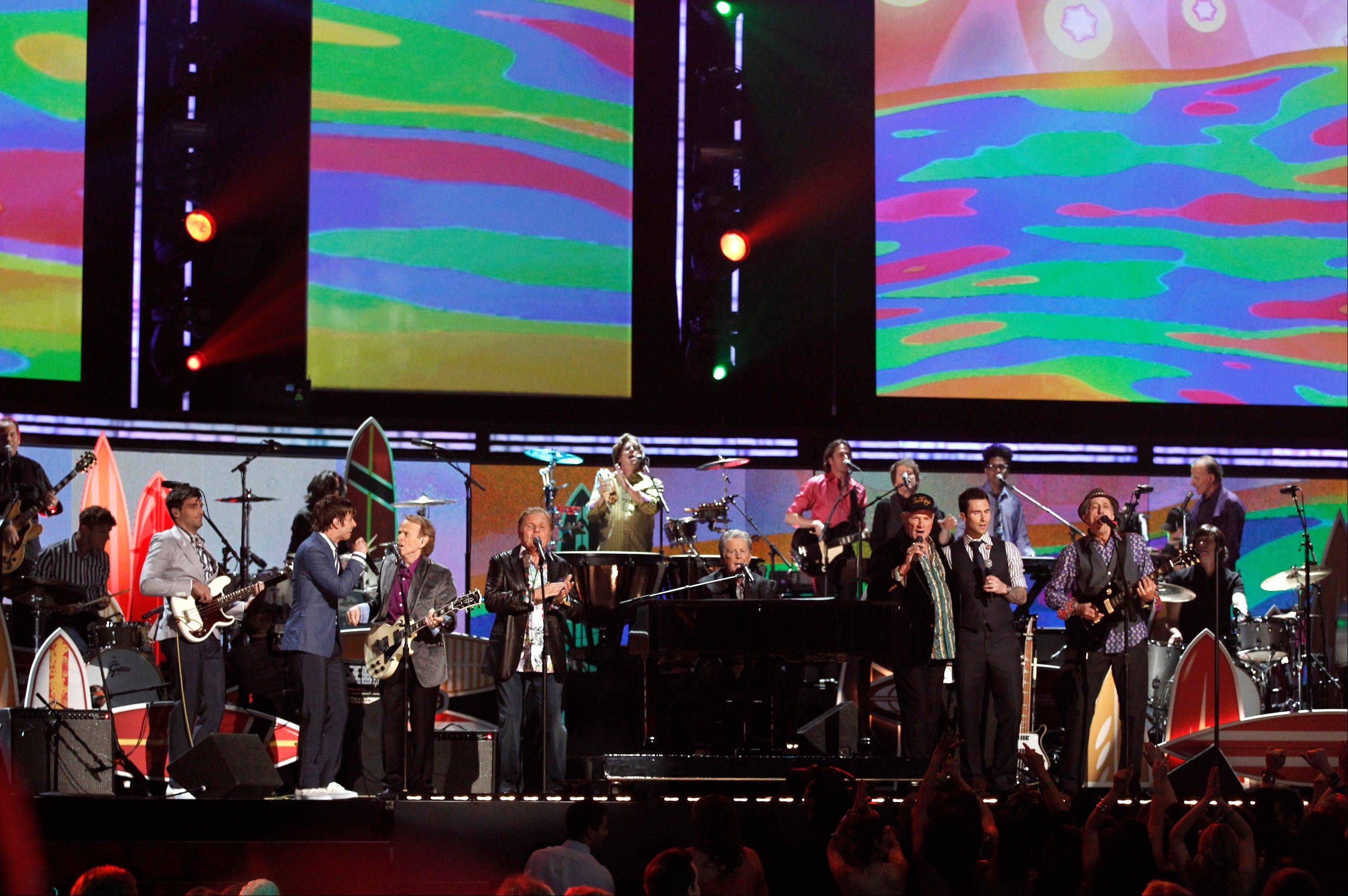 The bands Beach Boys, Maroon 5, and Foster the People perform Sunday during the 54th annual Grammy Awards in Los Angeles.