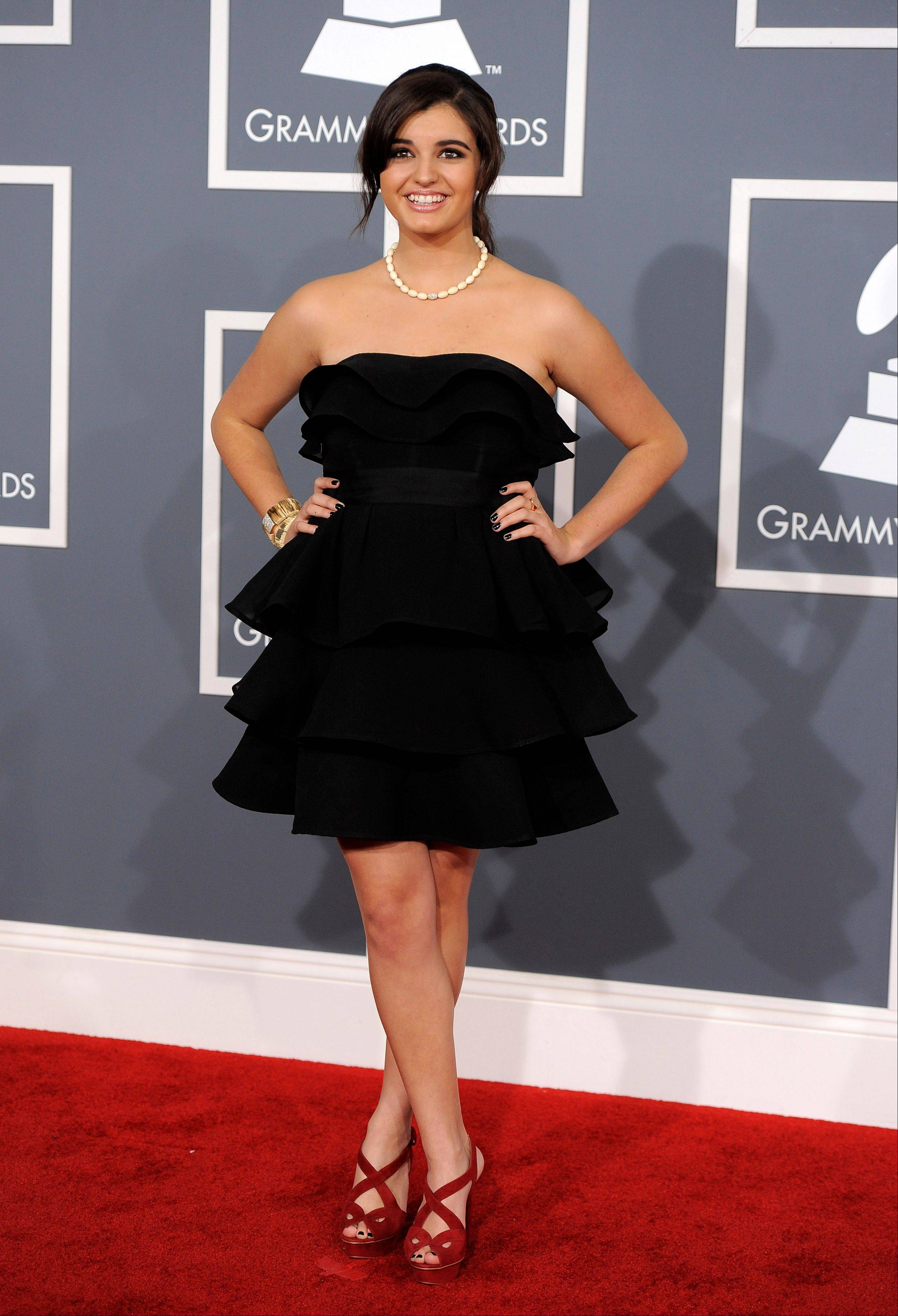 Rebecca Black arrives Sunday at the 54th annual Grammy Awards in Los Angeles.