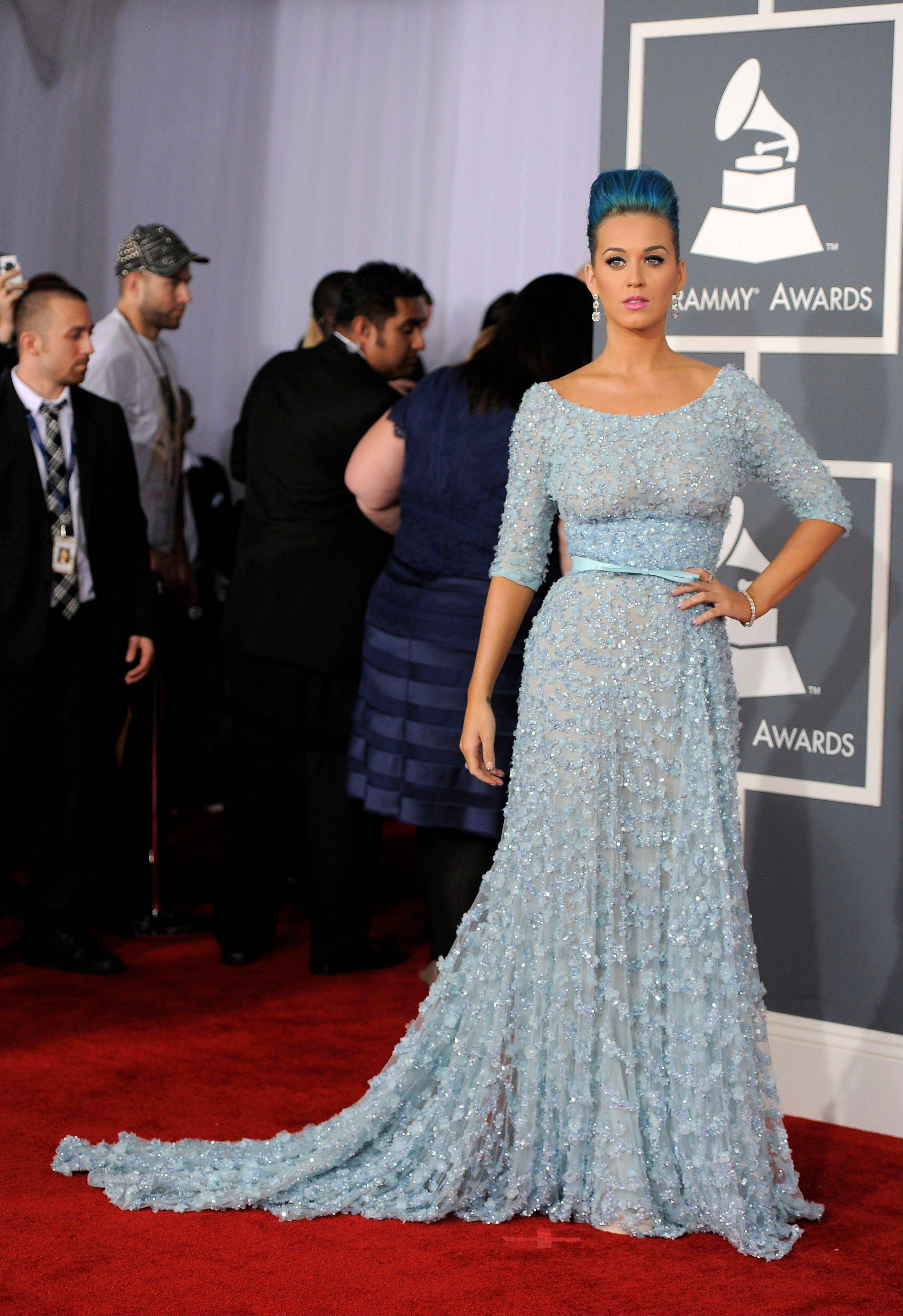 Katy Perry arrives Sunday at the 54th annual Grammy Awards in Los Angeles.