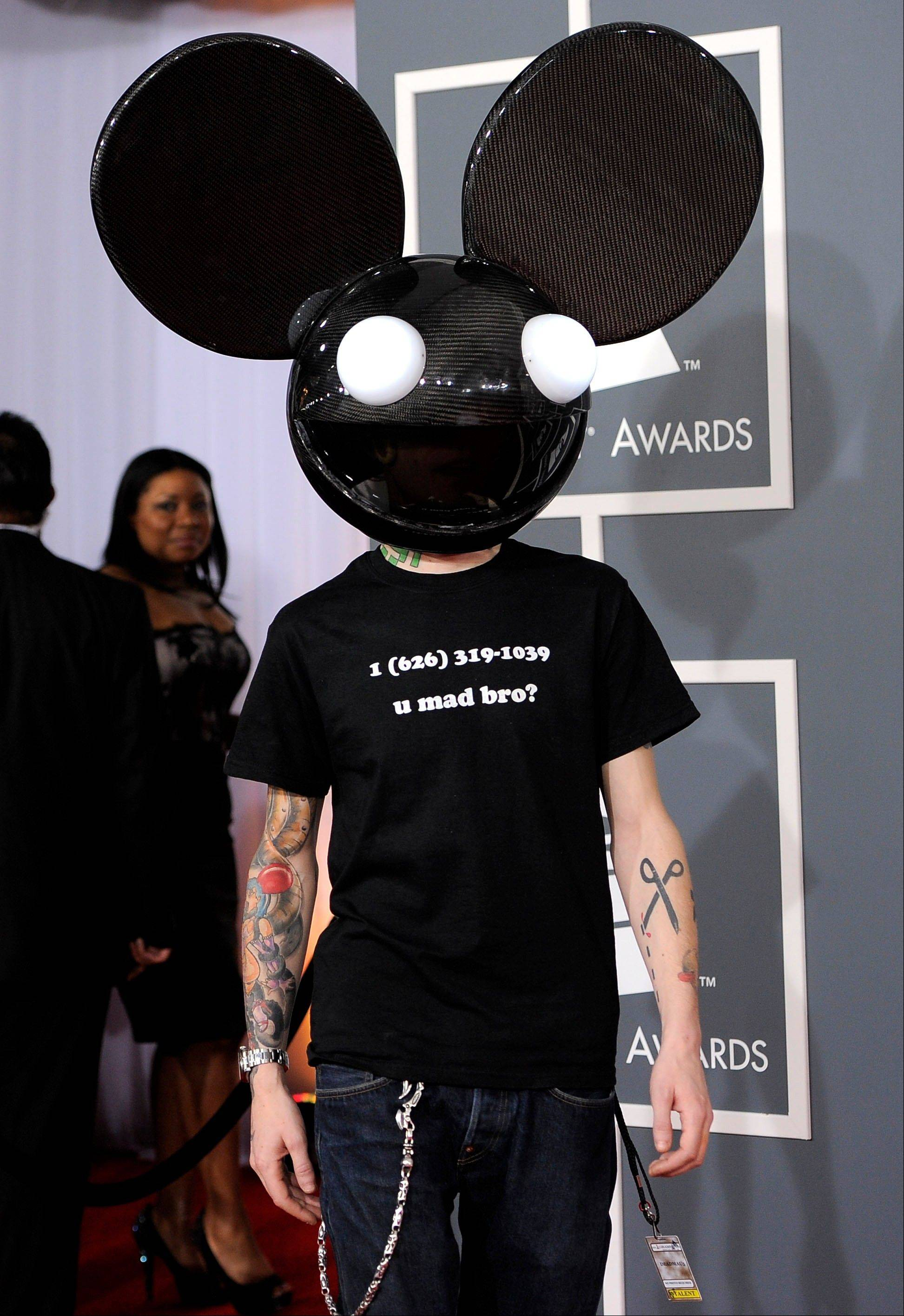 Deadmau5 arrives Sunday at the 54th annual Grammy Awards in Los Angeles.