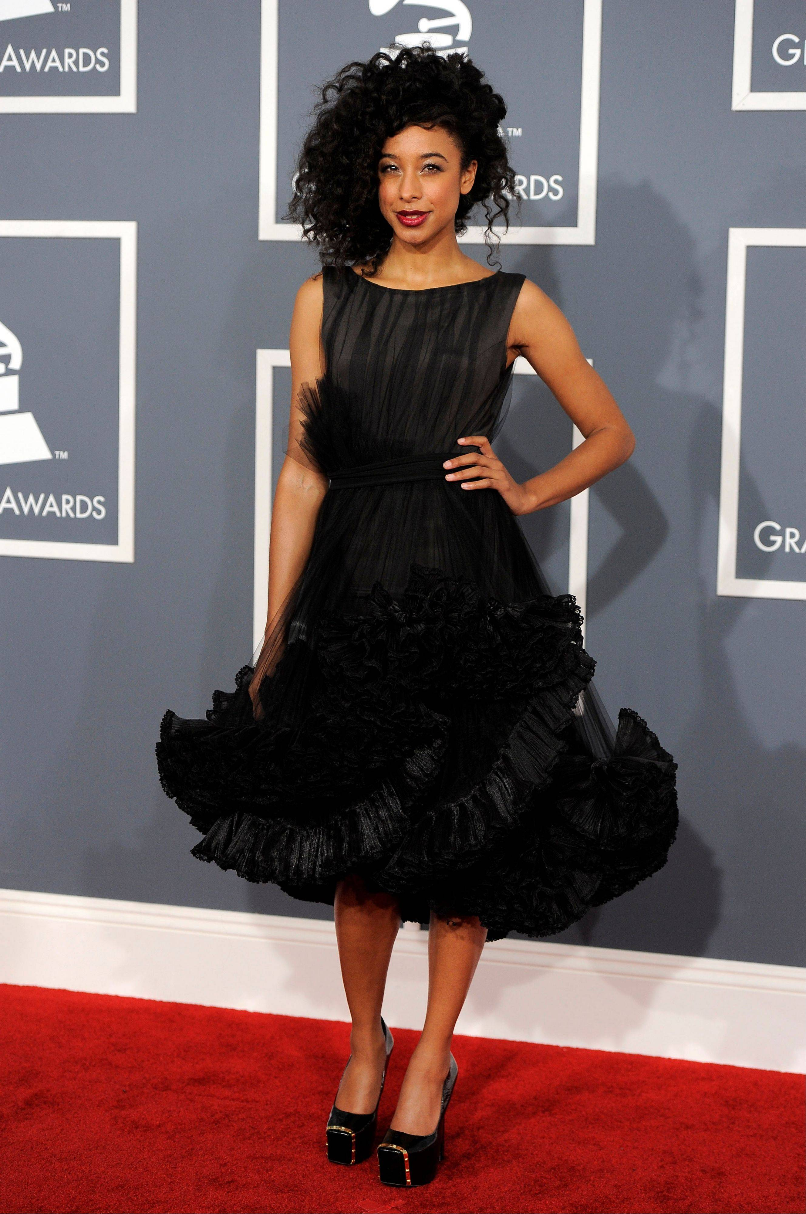 Corinne Bailey Rae arrives Sunday at the 54th annual Grammy Awards in Los Angeles.