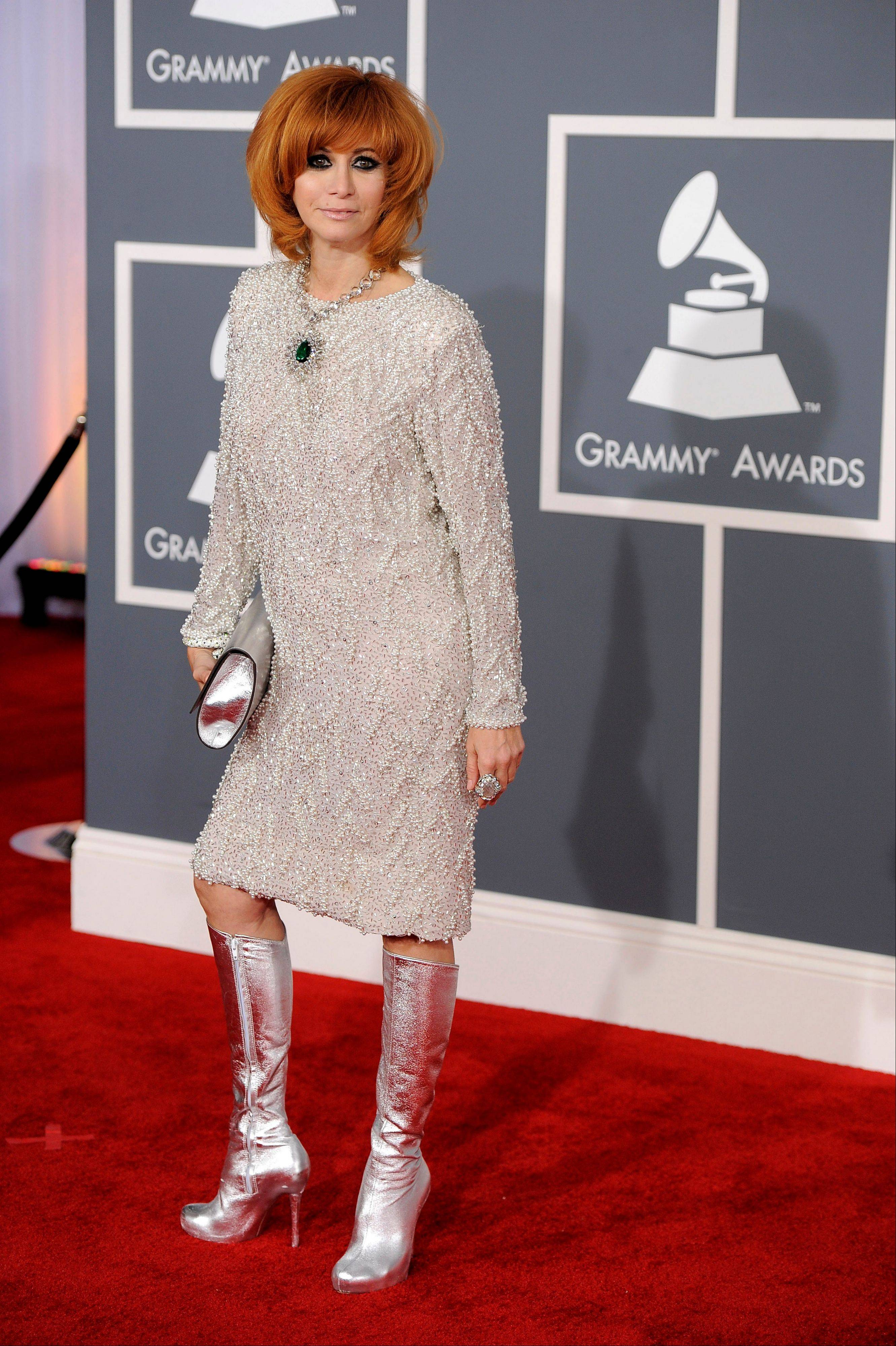 Linda Ramone arrives Sunday at the 54th annual Grammy Awards in Los Angeles.