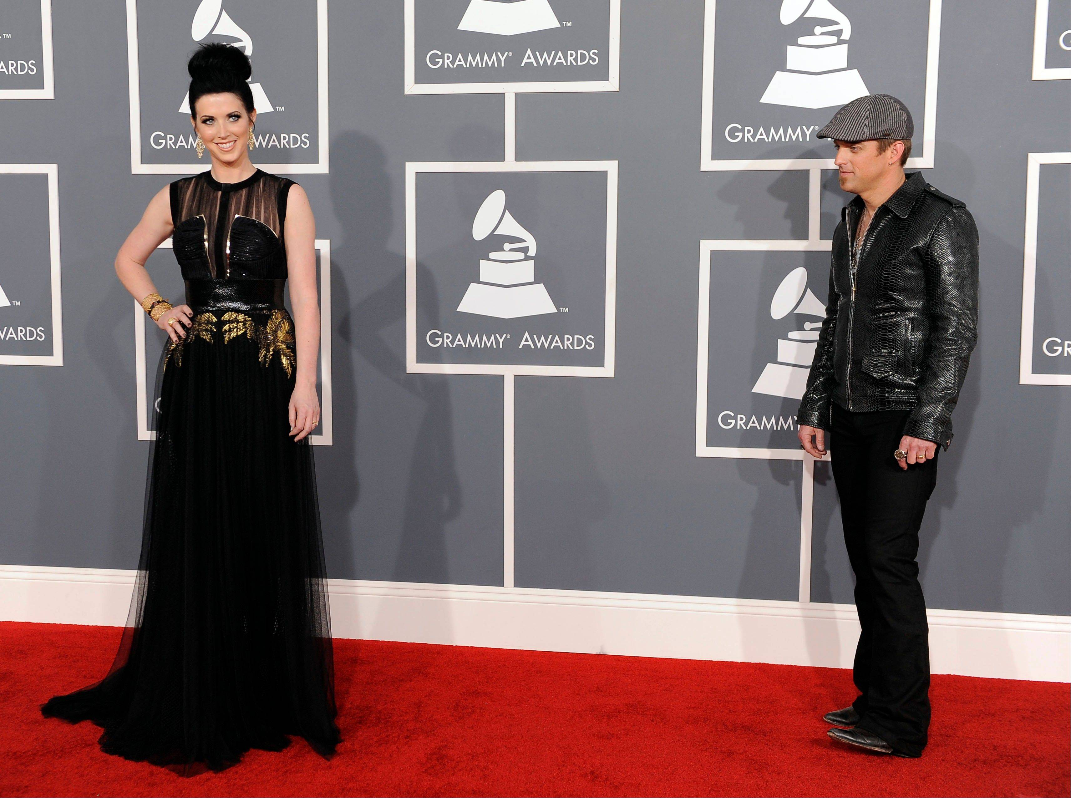 Shawna Thompson, left, and Keifer Thompson of Thompson Square arrive Sunday at the 54th annual Grammy Awards in Los Angeles.