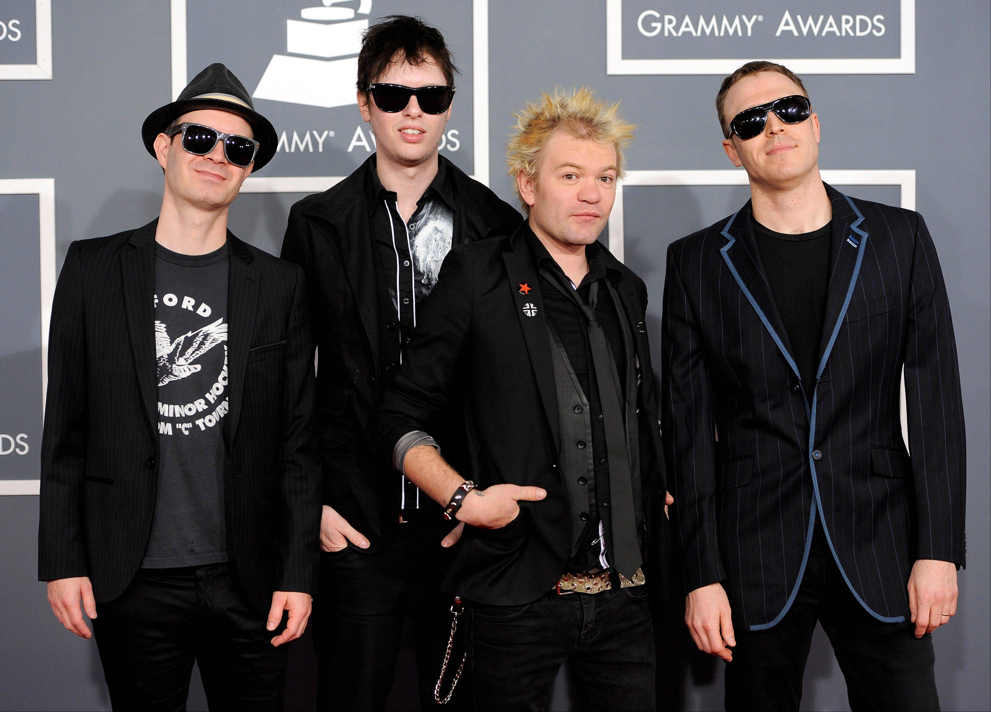 The band Sum 41 arrives Sunday at the 54th annual Grammy Awards in Los Angeles.
