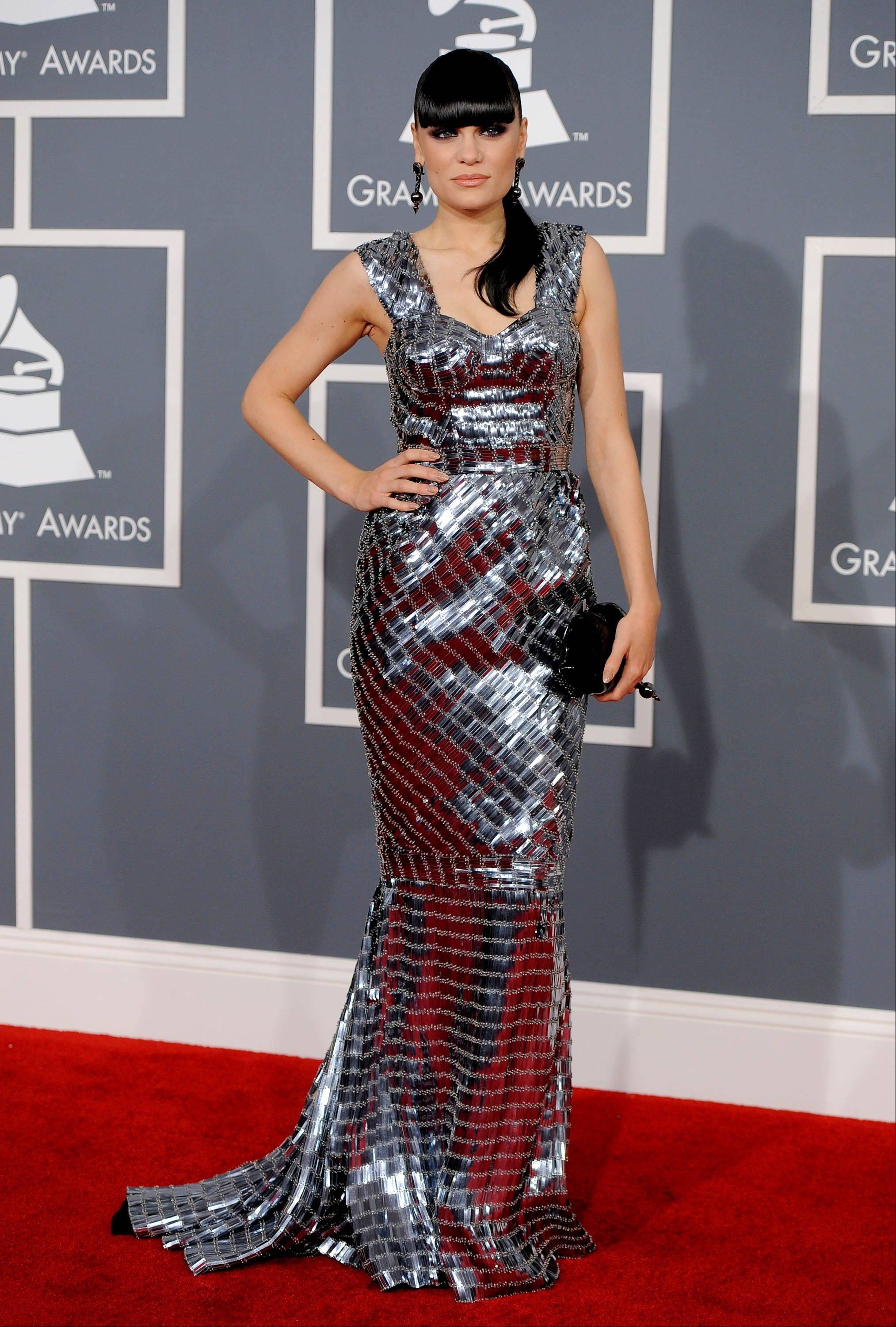 Jessie J arrives Sunday at the 54th annual Grammy Awards in Los Angeles.