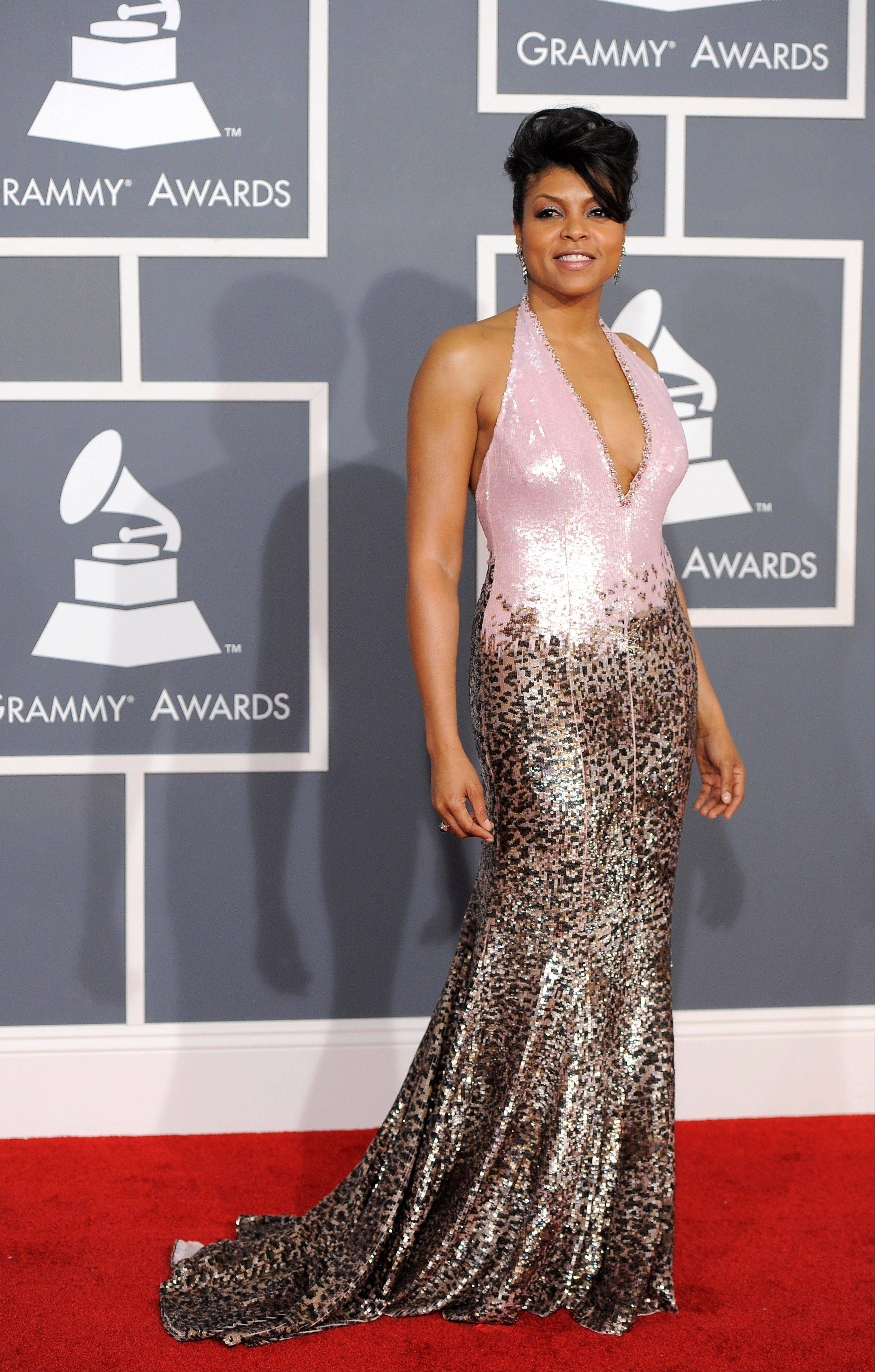Taraji P. Henson arrives Sunday at the 54th annual Grammy Awards in Los Angeles.