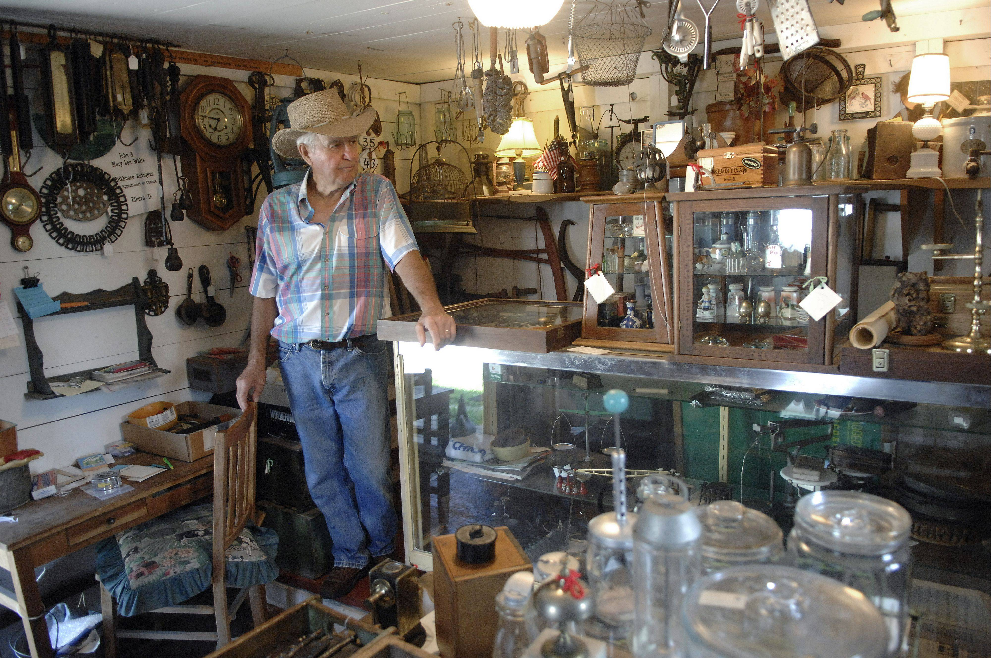 Milkhouse Antiques, a shop in a barn on the White farm, is also full of primitives.