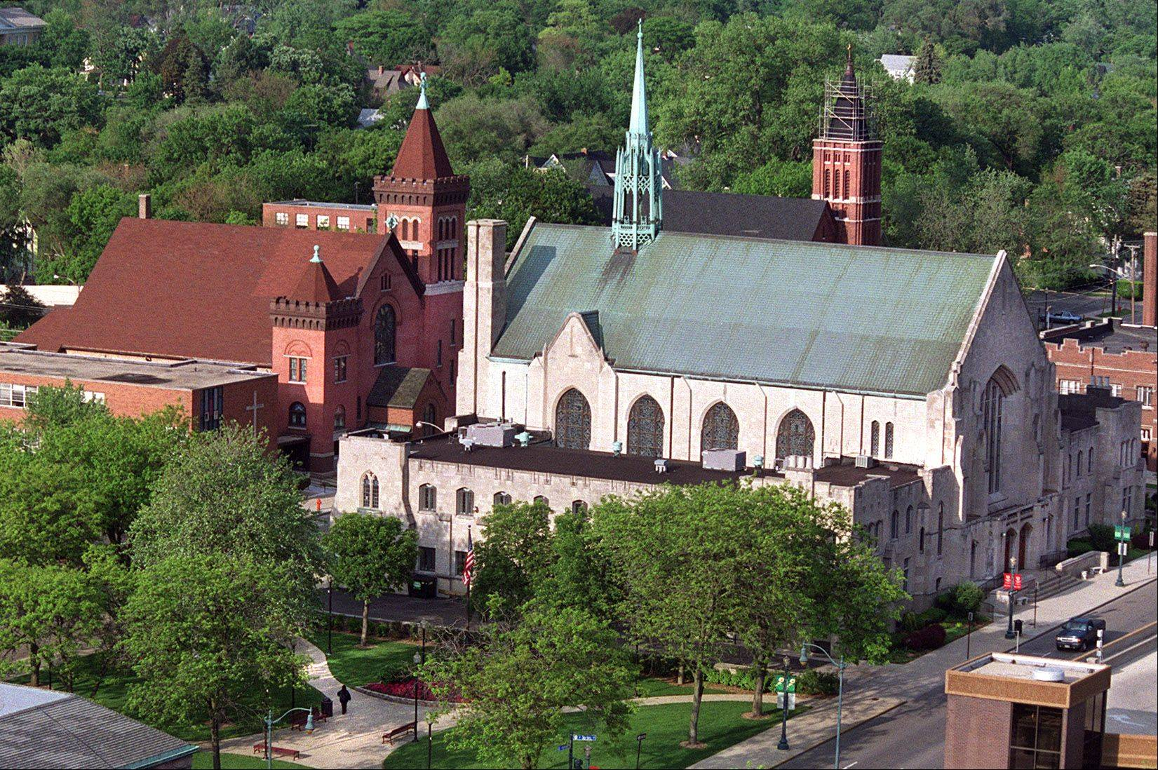 Atop Holy Hill, First United Methodist Church (front right) is celebrating its 175th anniversary this year with a variety of programs.