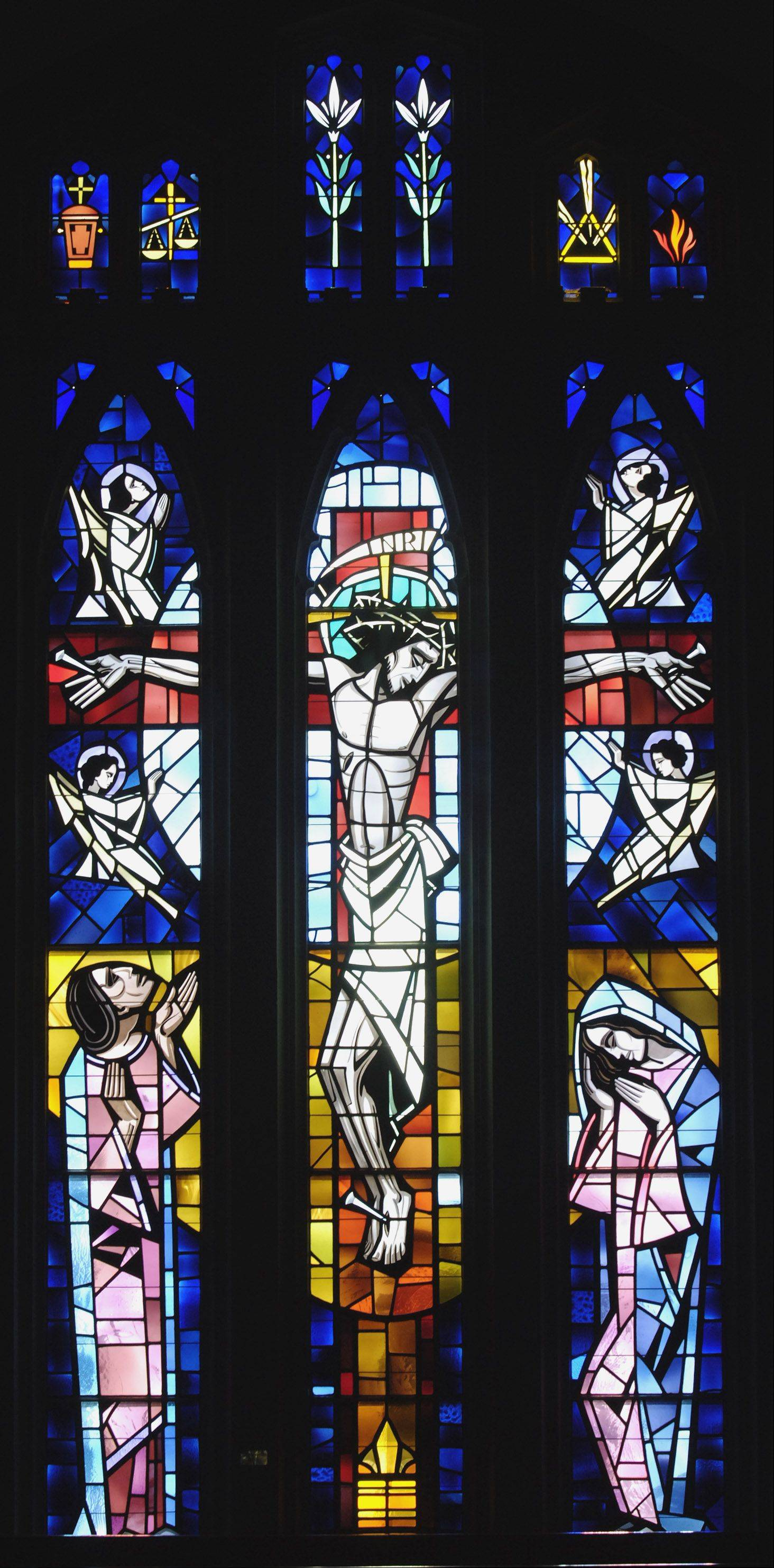 Illustrating the Crucifixion, this window was installed in 1965 in the south wall of First United Methodist Church in Elgin. It was the second in a 10-year program to replace old windows in the church for windows created by one of the nation's foremost stained-glass designers, according to the church. The church became a showcase of the work of Conrad Pickel of New Berlin, Wis., and includes more than 40 windows.