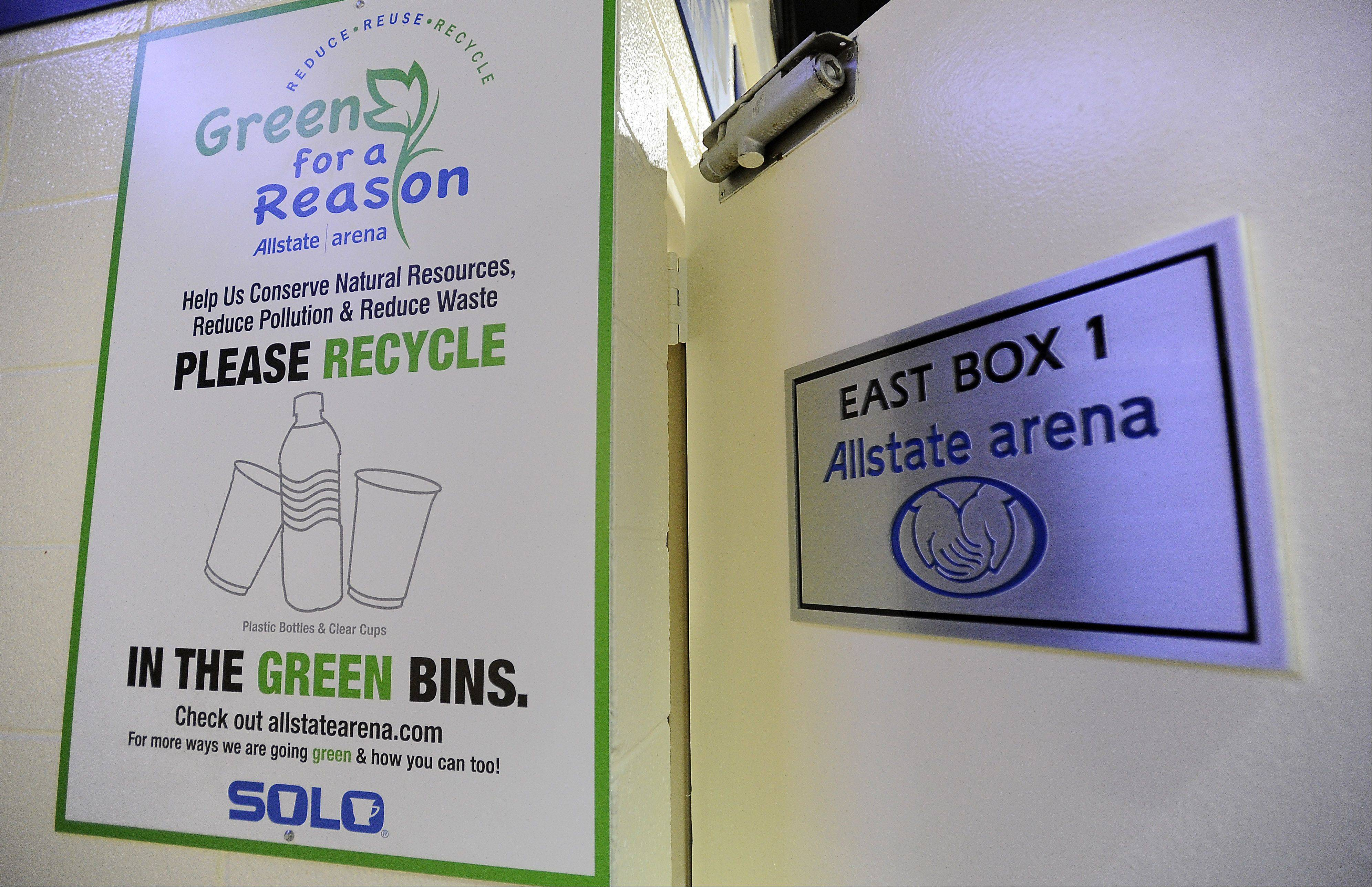 Environmental signs like this one greet visitors to the Allstate Arena in Rosemont.
