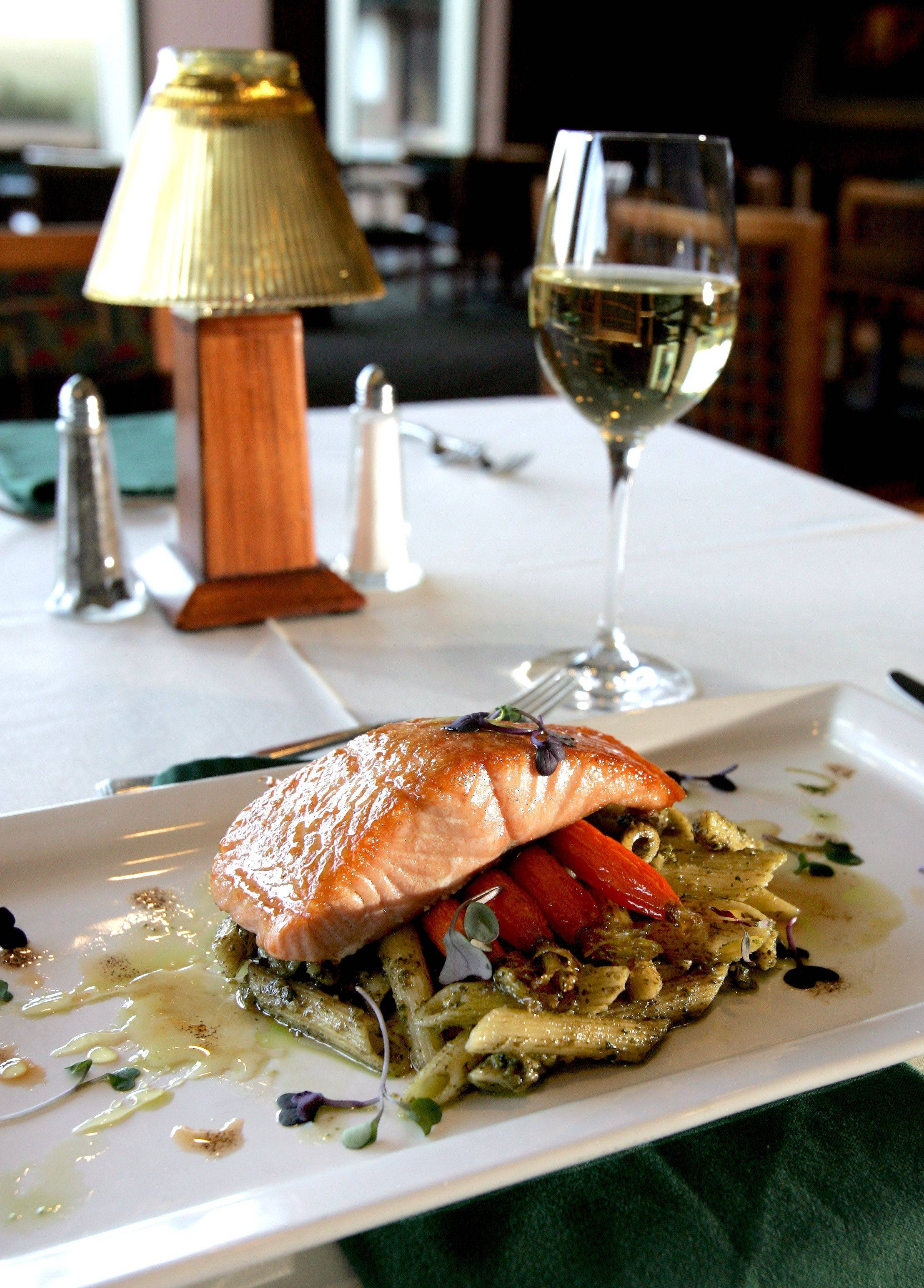 Seared Pacific salmon in lavender-limoncello syrup is one of three entree options on the Restaurant Week prix fixe menu at Prairie River restaurant at Eaglewood Resort and Spa in Itasca.