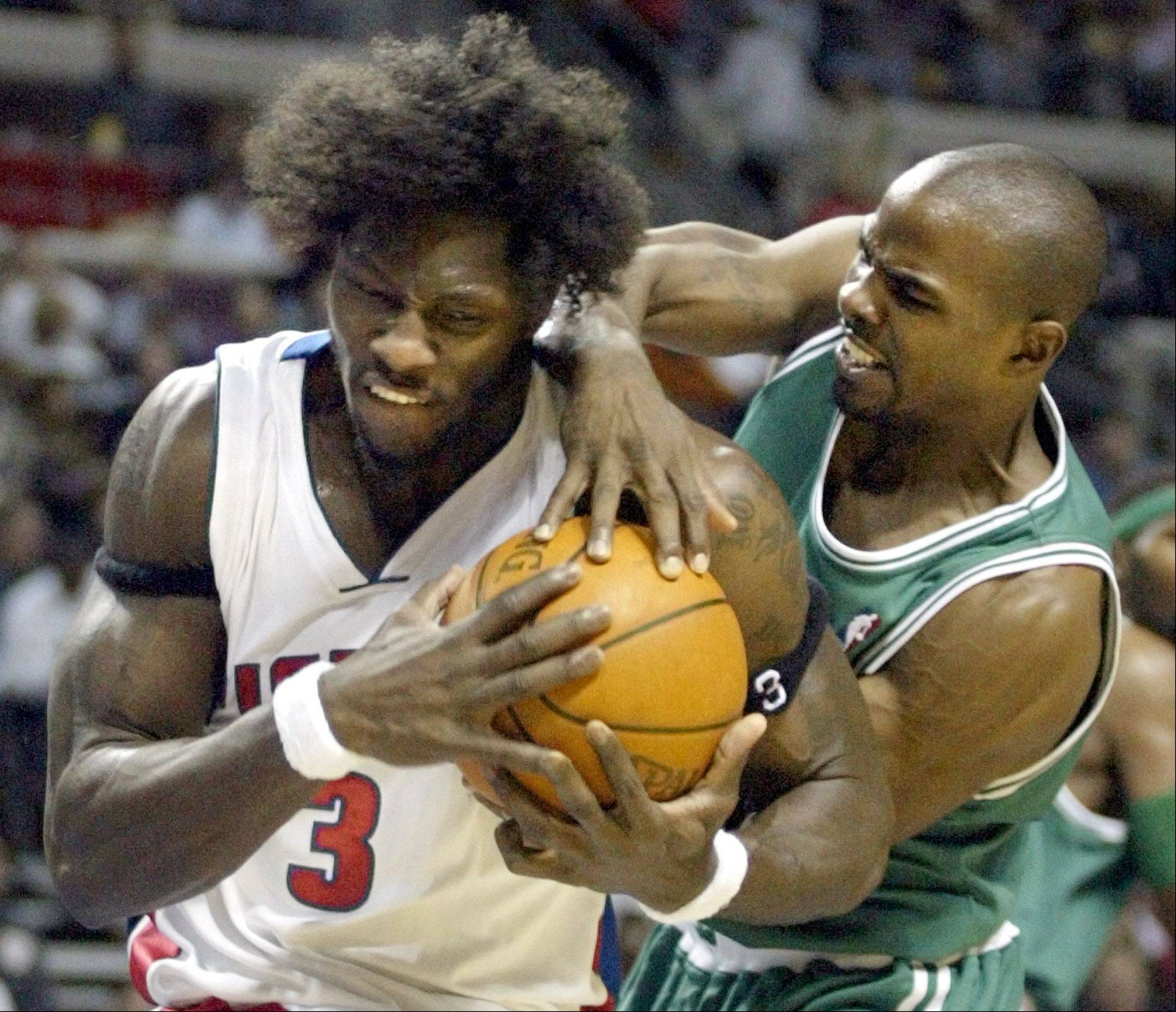 Mike James, right, who has played for 10 different NBA teamsD etroit Pistons forward Ben Wallace (3) battles Boston Celtics guard Mike James for the ball in the second half of the Pistons 96-88 win Wednesday, Nov. 5, 2003, in Auburn Hills, Mich.