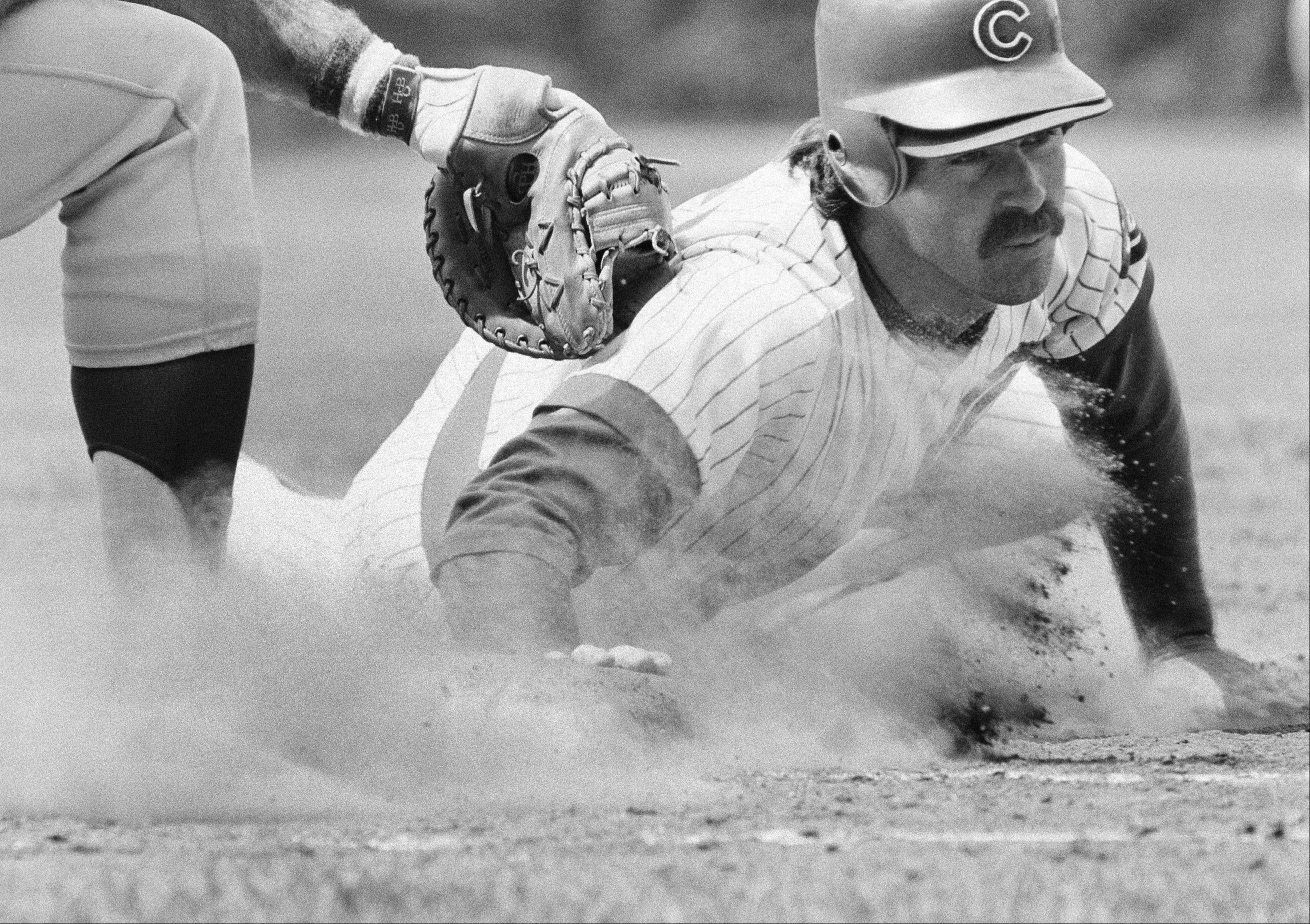 Chicago Cubs Bill Buckner takes some soil samples on his way back to first base in home action against the Los Angeles Dodgers in Chicago, Friday, May 28, 1982.
