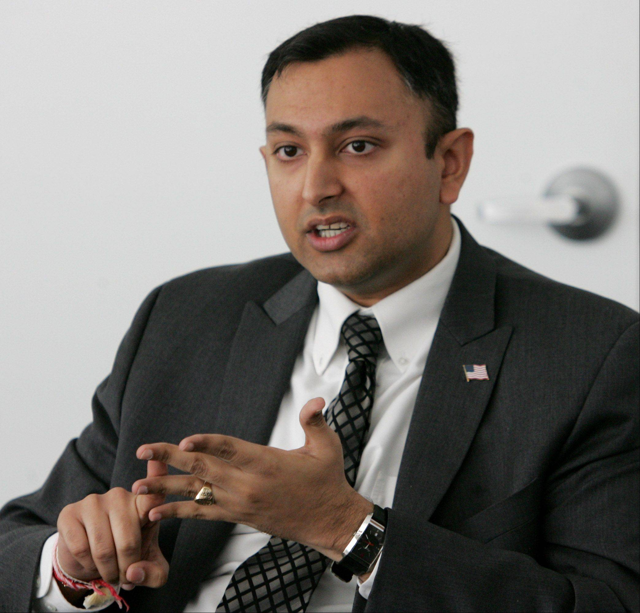 10th Congressional District Democratic candidate Vivek Bavda of Mundelein discusses his views at the Daily Herald office in Libertyville.