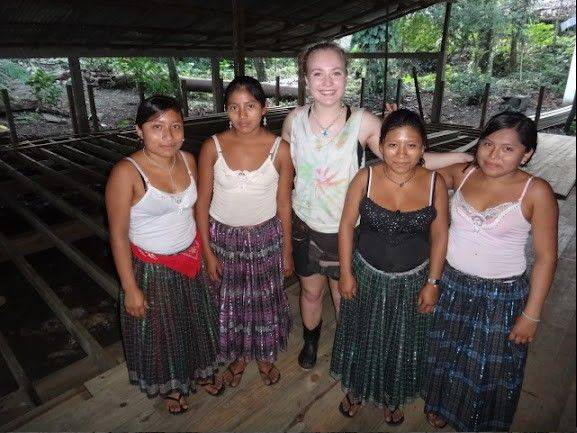 Shannon Legge, center, with several Mayan student at Ak'Tenamit School in Guatemala as part of a Rotary International trip this month.