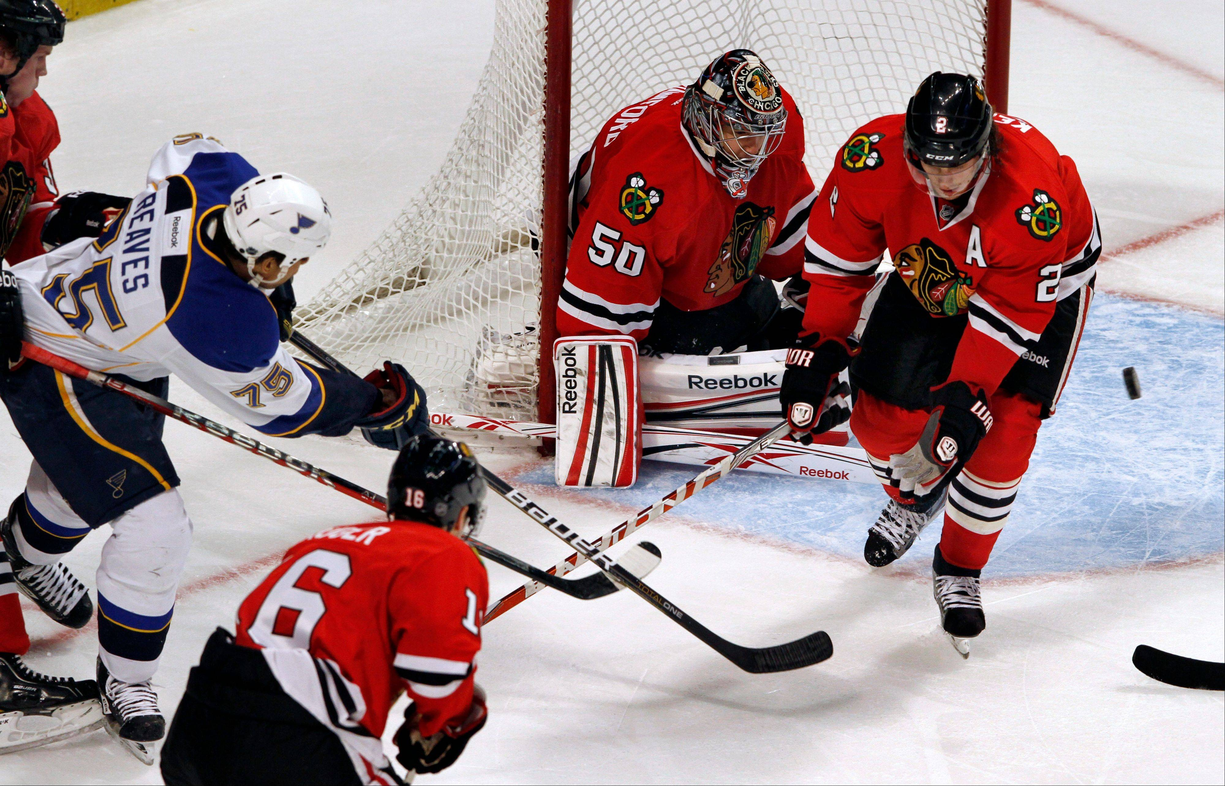 While the Hawks continue to struggle with the power play, the defense has improved. The Hawks and goalie Corey Crawford have allowed only 7 goals in the last four games.
