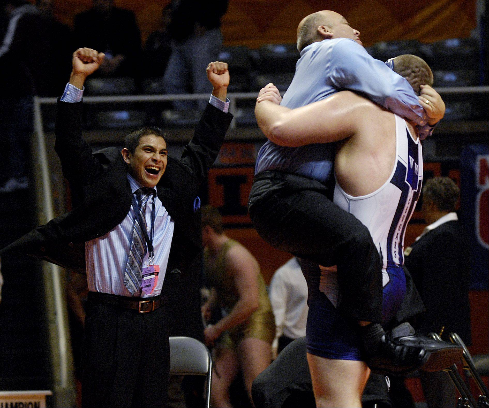 Jeremy Brazil of Vernon Hills celebrates his win in the 2A 285-pound Championship match against Seth Gonzalez of Yorkville during the 2012 IHSA wrestling state finals in Champaign Saturday.
