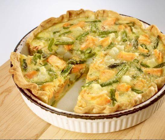 Salmon, Goat Cheese and Asparagus Quiche Torte