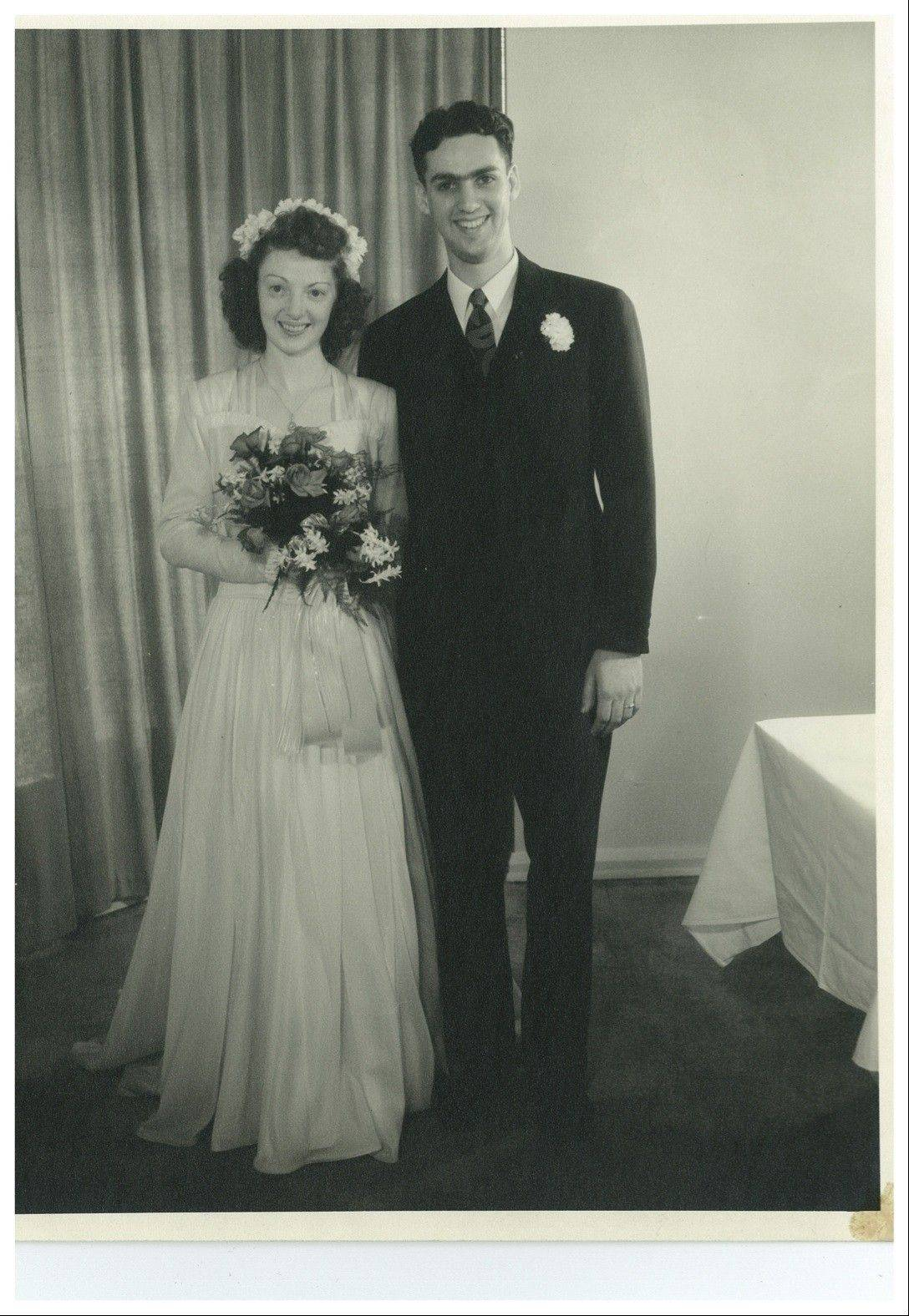 Cay and Gene Voiland are shown on their wedding day, Feb. 19, 1946. Cay wore a dress made of silk from Gene's Air Force parachute. The Voilands just celebrated their 66th wedding anniversary and reside in The Holmstad, a retirement community in Batavia.
