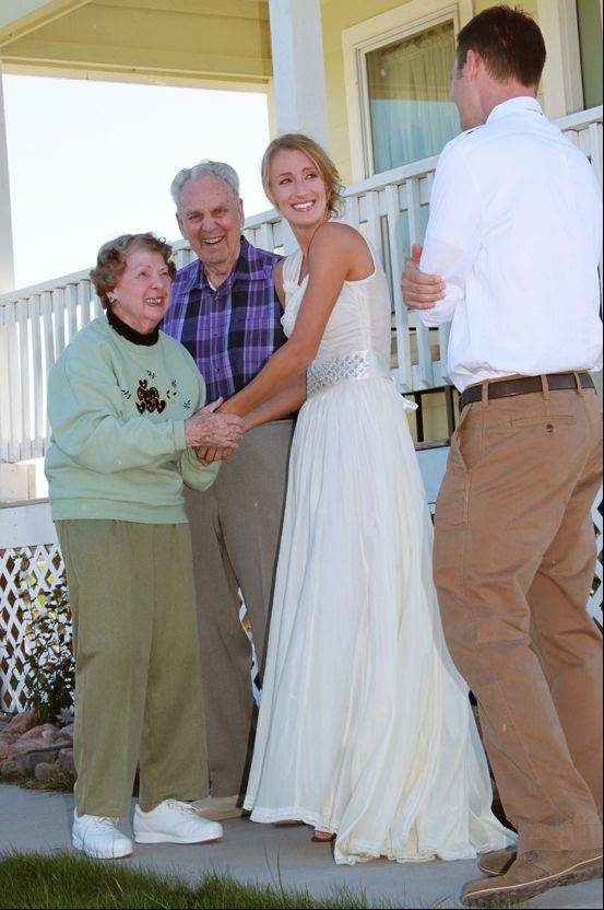 Cay and Gene Voiland with their granddaughter Celeste Riley and Celeste's new husband, Greg Brennecka.