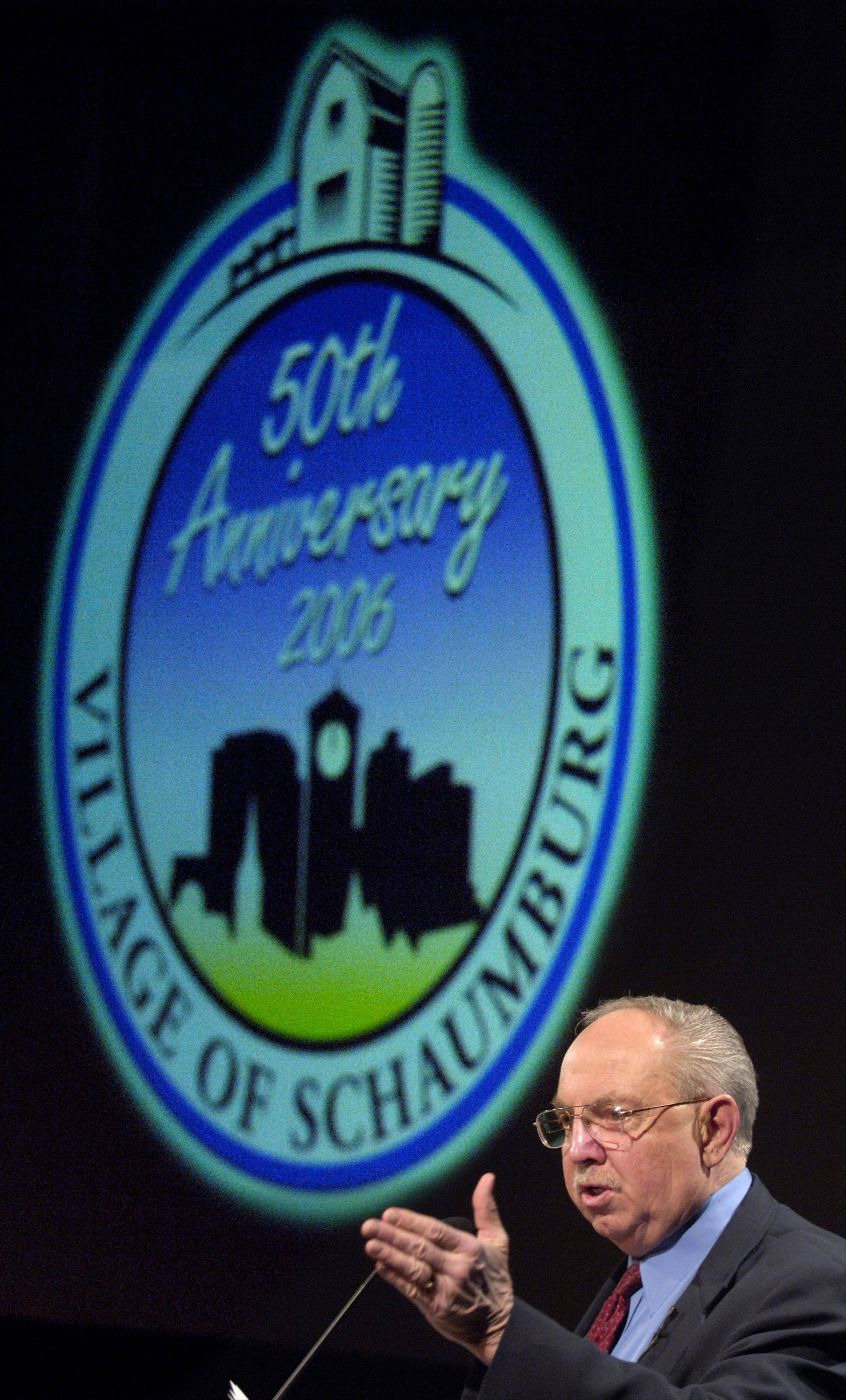 Schaumburg Mayor Al Larson presides over the village's 50th anniversary ceremony in 2006 when the village did not collect a property tax, but it does now and has collected more than $47 million in the past two years.