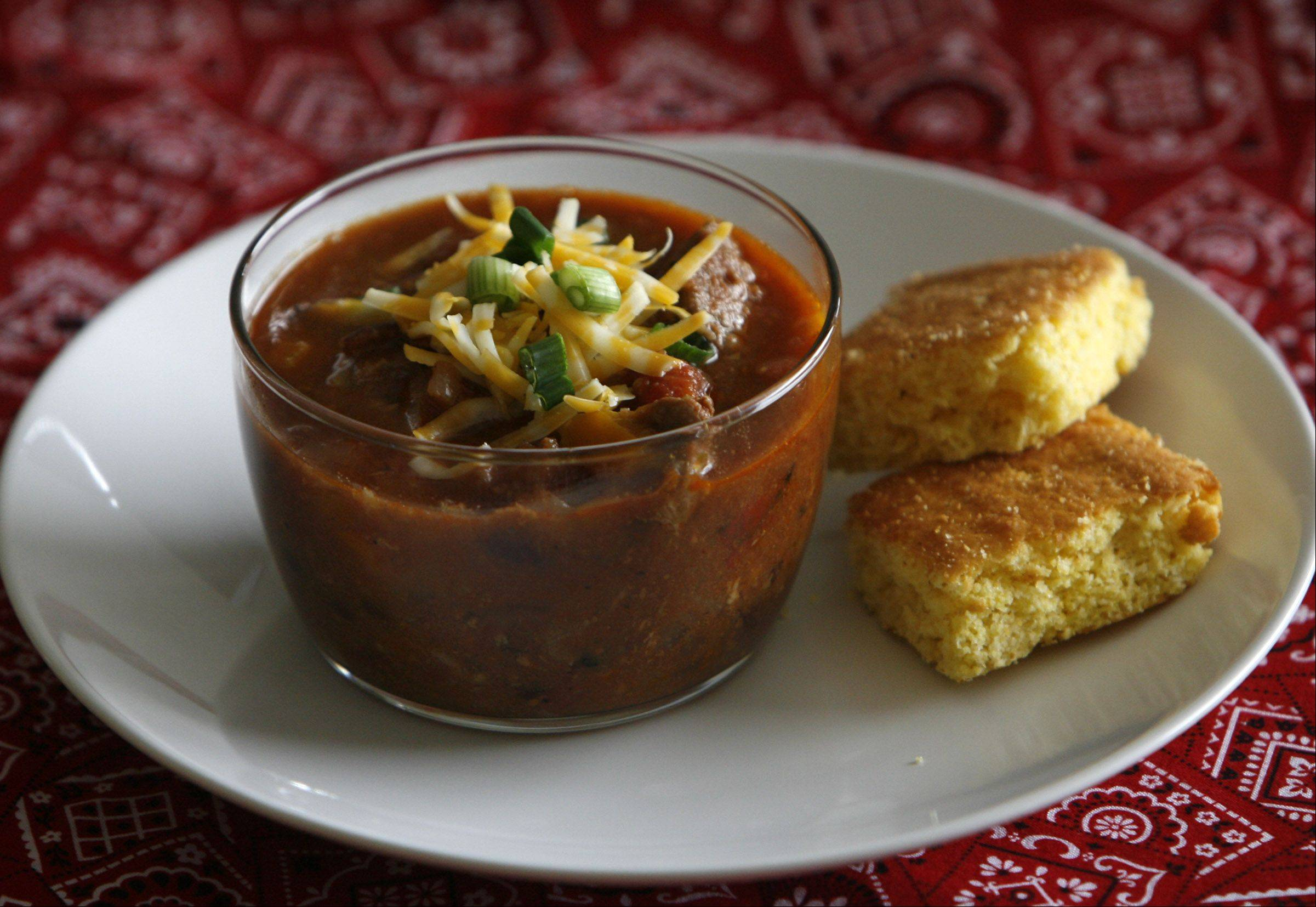 George LeclaireChorizo, beef and black beans give plenty of protein to this chili, a perfect way to warm up on a cold February day.