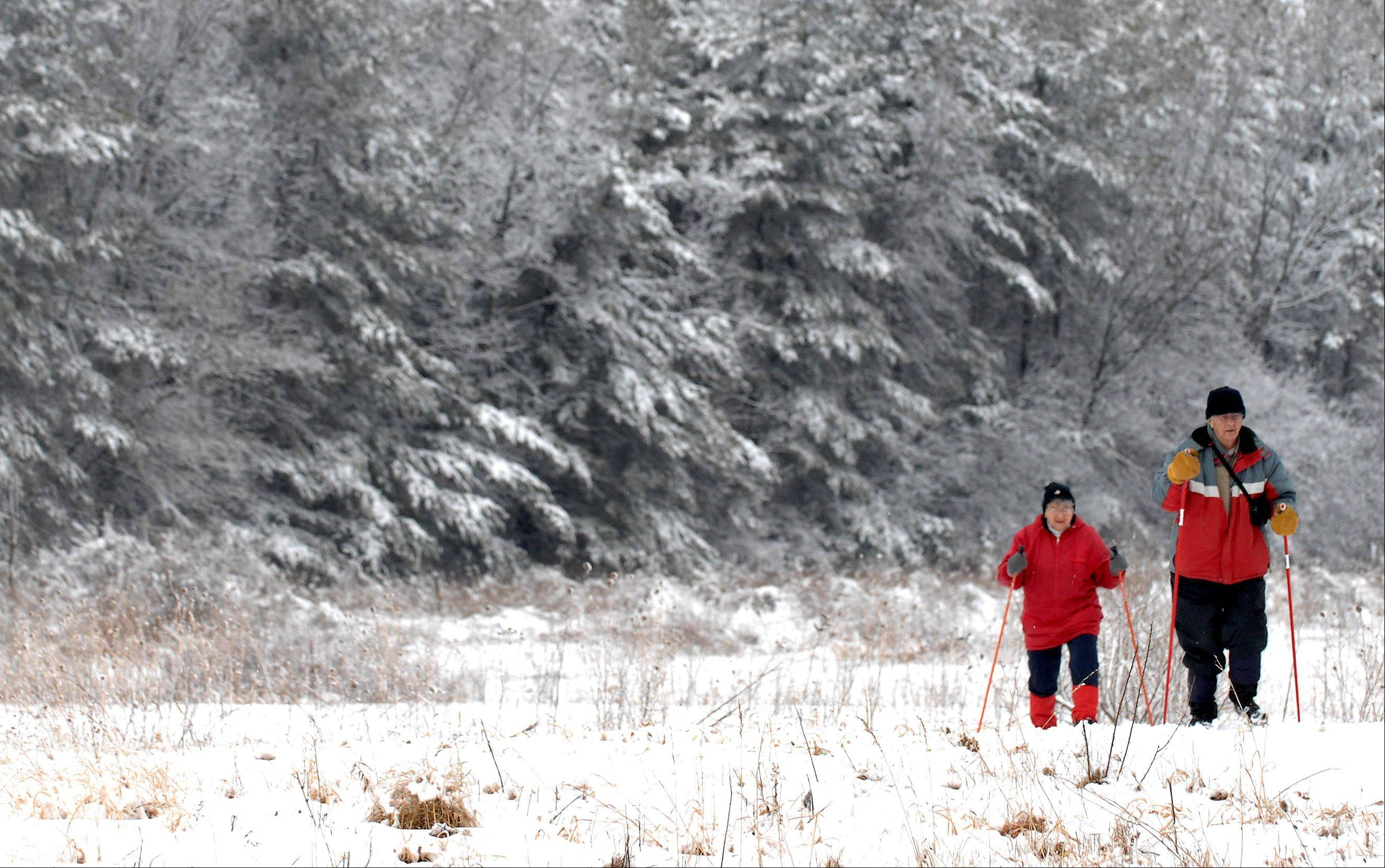 Jerry and Delores Hennen of Geneva break out their cross country skis and enjoy the overnight snowfall at LeRoy Oakes Forest Preserve in St. Charles Friday. They said after being able to ski around the area over 40 times last winter, that this was only the 11th time they'd had enough snow to do it this year.