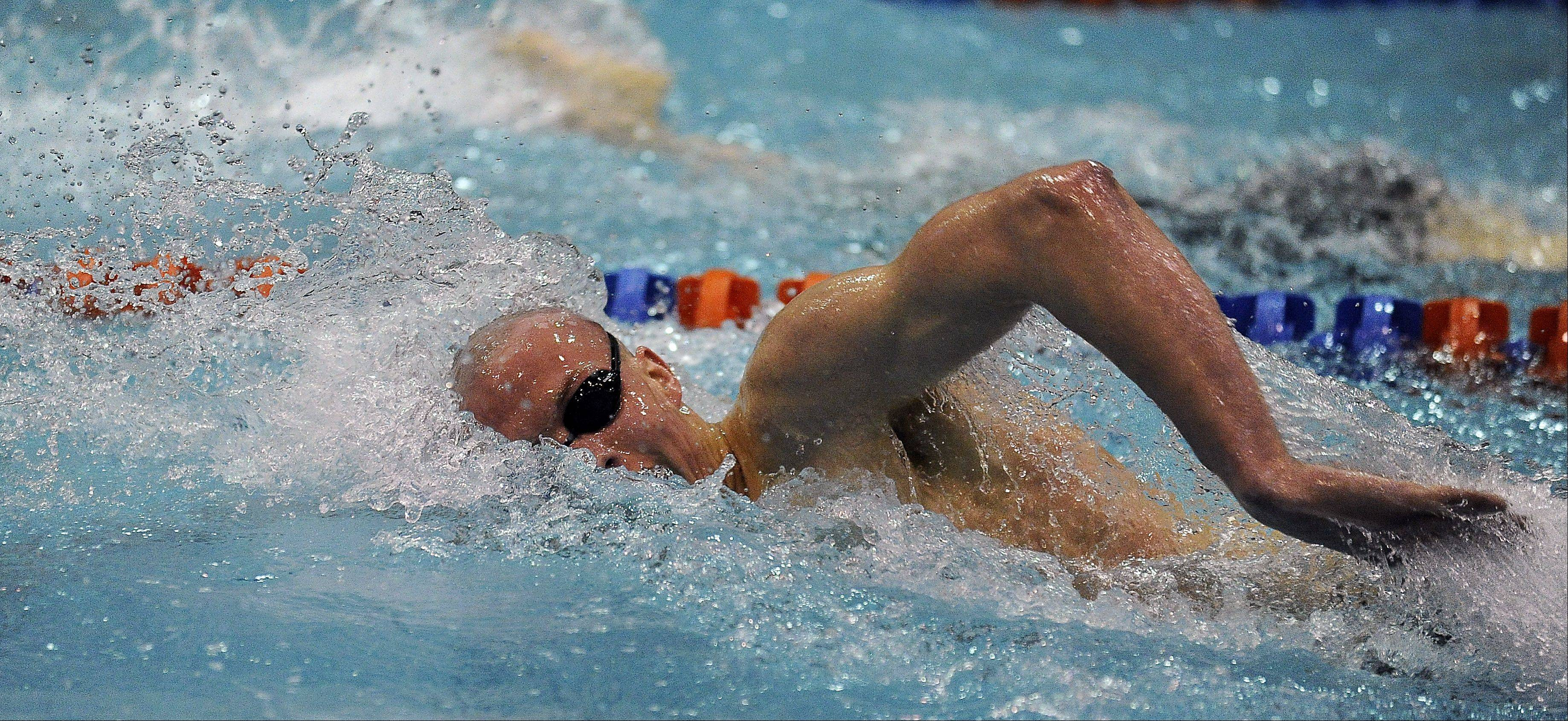 Daniel Conway of Warren powers ahead in the 500-yard freestyle in the state swimming preliminaries at Evanston High School on Friday.