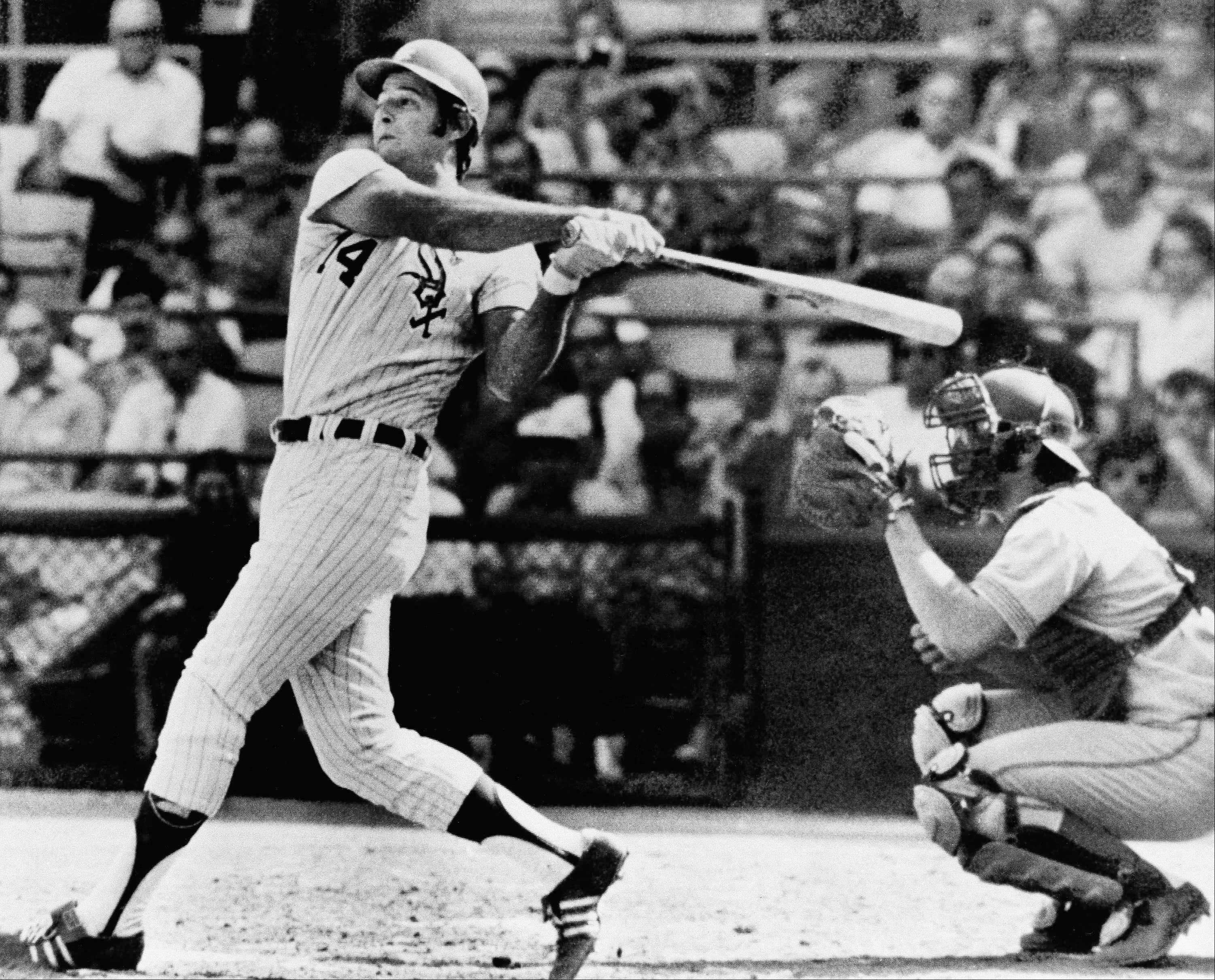 Bill Melton of the Chicago White Sox, 1971 American League home run champion, will undergo surgery for a herniated disc in his back, the White Sox announced on Saturday, July 8, 1972 in Chicago. Melton shown here hitting his 33 home run off the Brewers in the 1971 season. He was hitting 245, with 7 home runs and 30 RBI's through 57 games of this season.