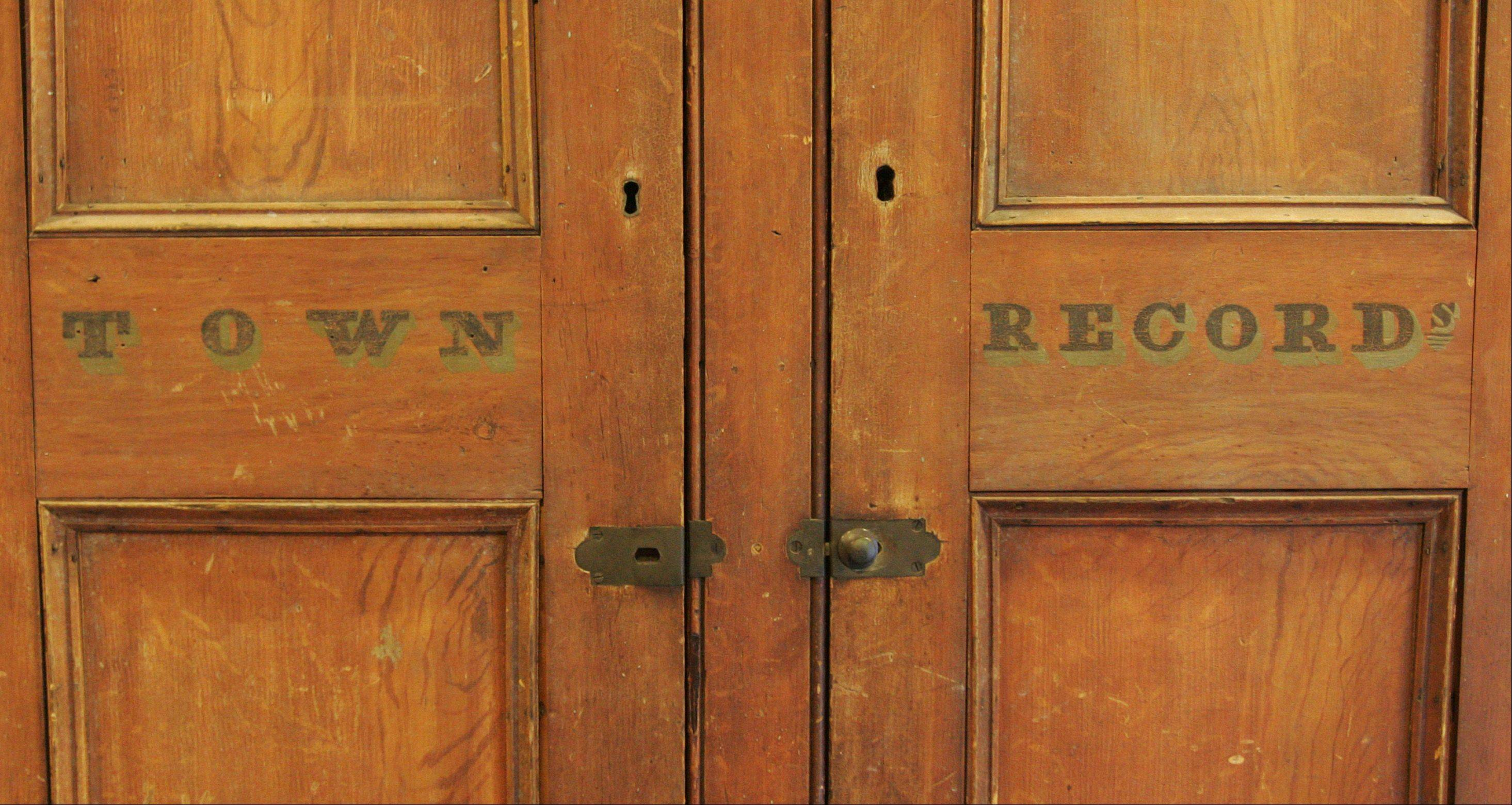 This cabinet came from New York state, and still bears the writing Town Records on the outside. It was used to store, you guessed it, records for the town of Highland Falls. The shelves inside still bear partial names of the residents whose documents once filled the cabinet.
