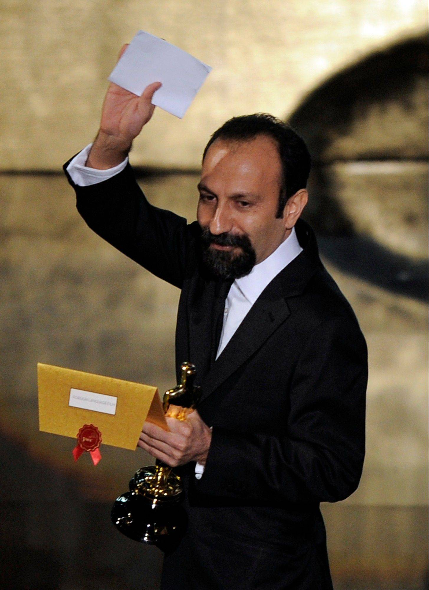"Asghar Farhadi, of Iran, accepts the Oscar for Best Foreign Language Film for ""A Separation."""