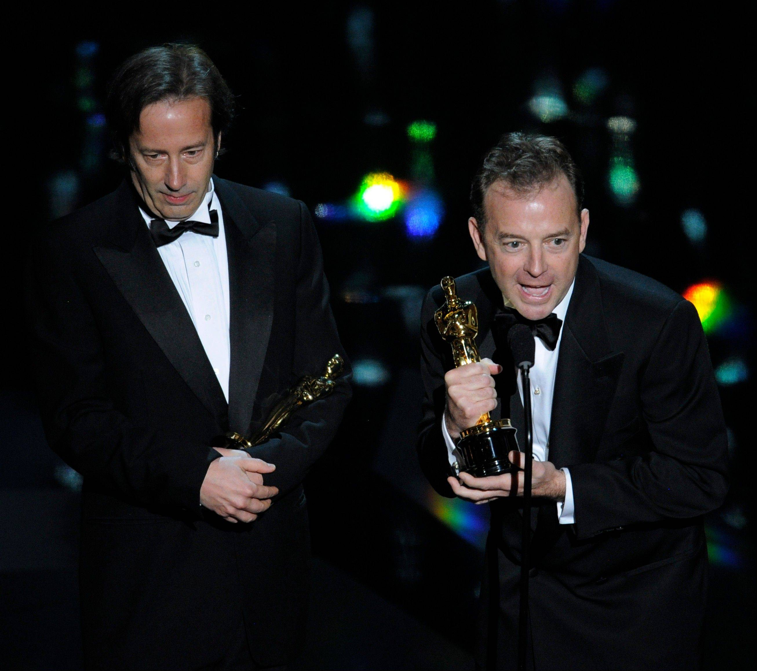 "Philip Stockton and Eugene Gearty accept the Oscar for Best Sound Editing for ""Hugo."""
