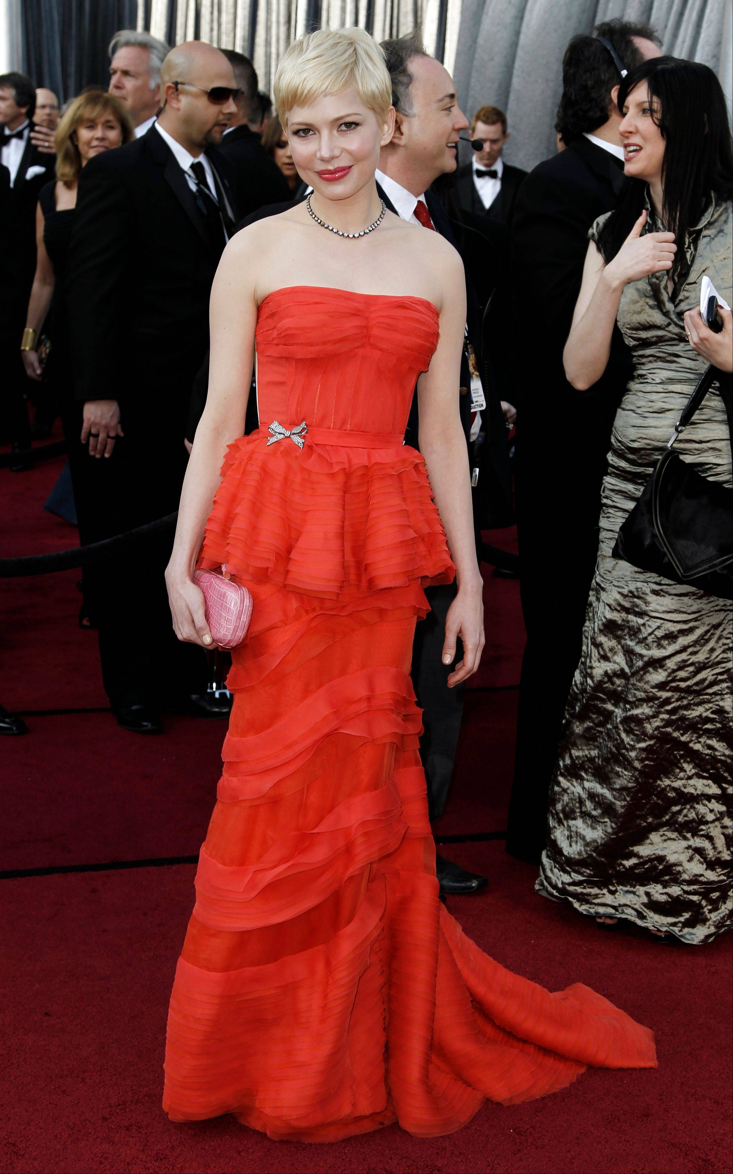 Best Actress nominee Michelle Williams wore Louis Vuitton for the 84th Academy Awards on Sunday.