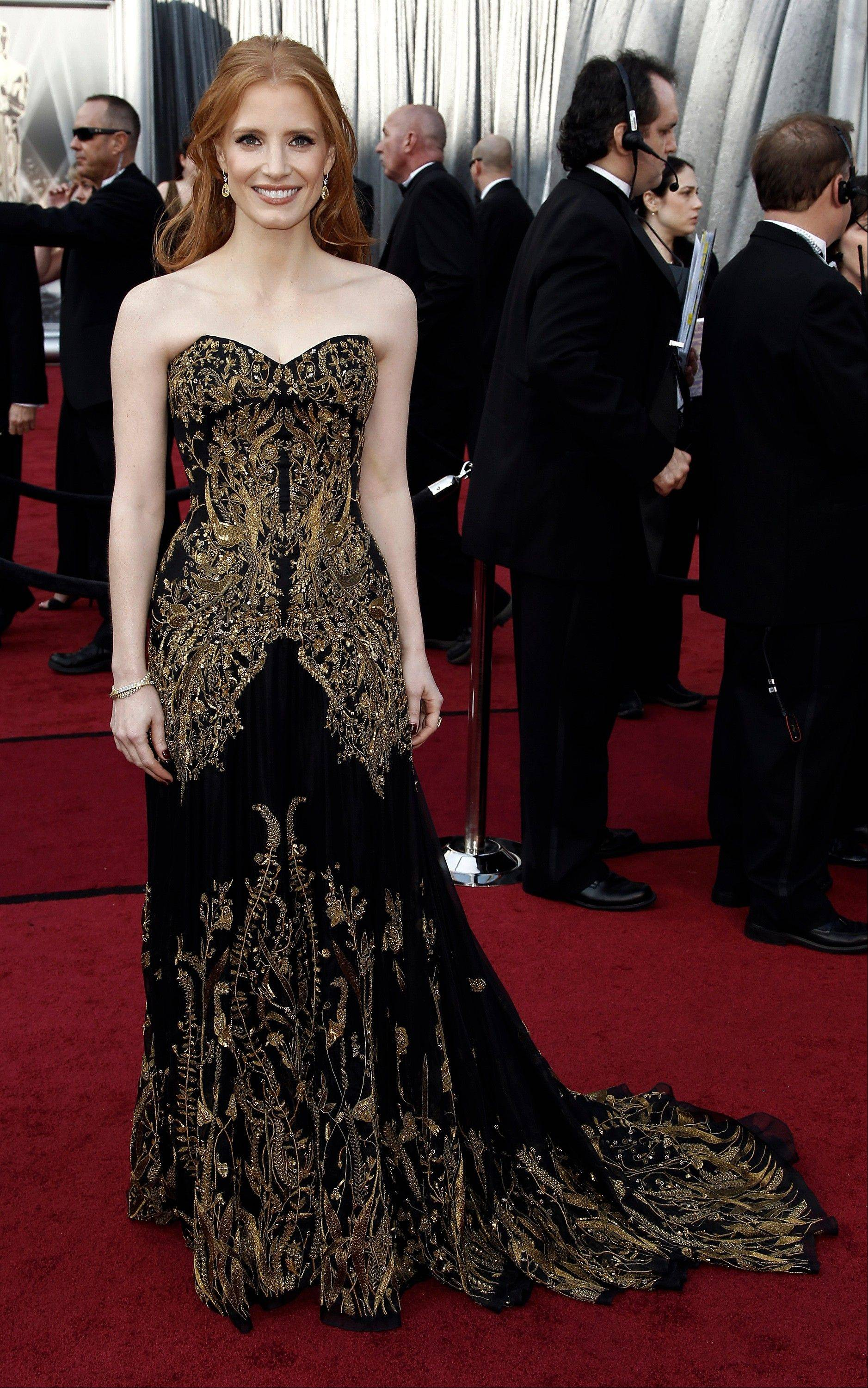Best Supporting Actress nominee Jessica Chastain wore an embroidered Alexander McQueen gown.