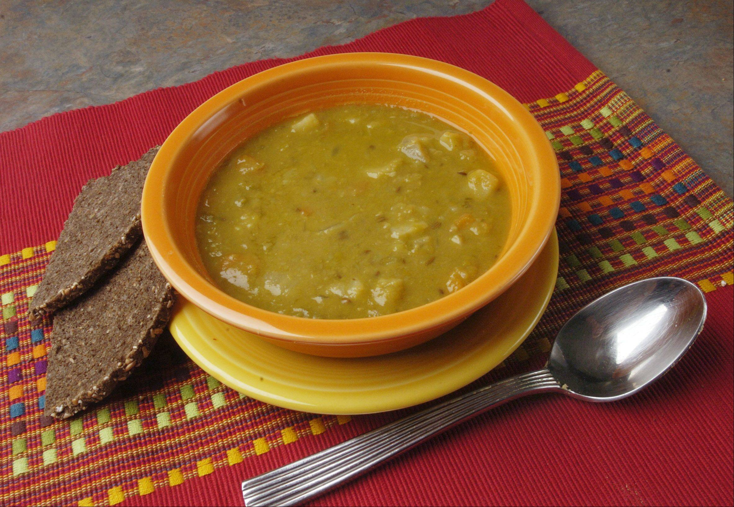 Split pea soup doesn't need a hambone for flavor. This version gets depth from caraway seeds and jalape�o.