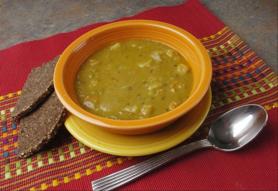 Split pea soup doesn't need a hambone for flavor. This version gets depth from caraway seeds and jalapeño.