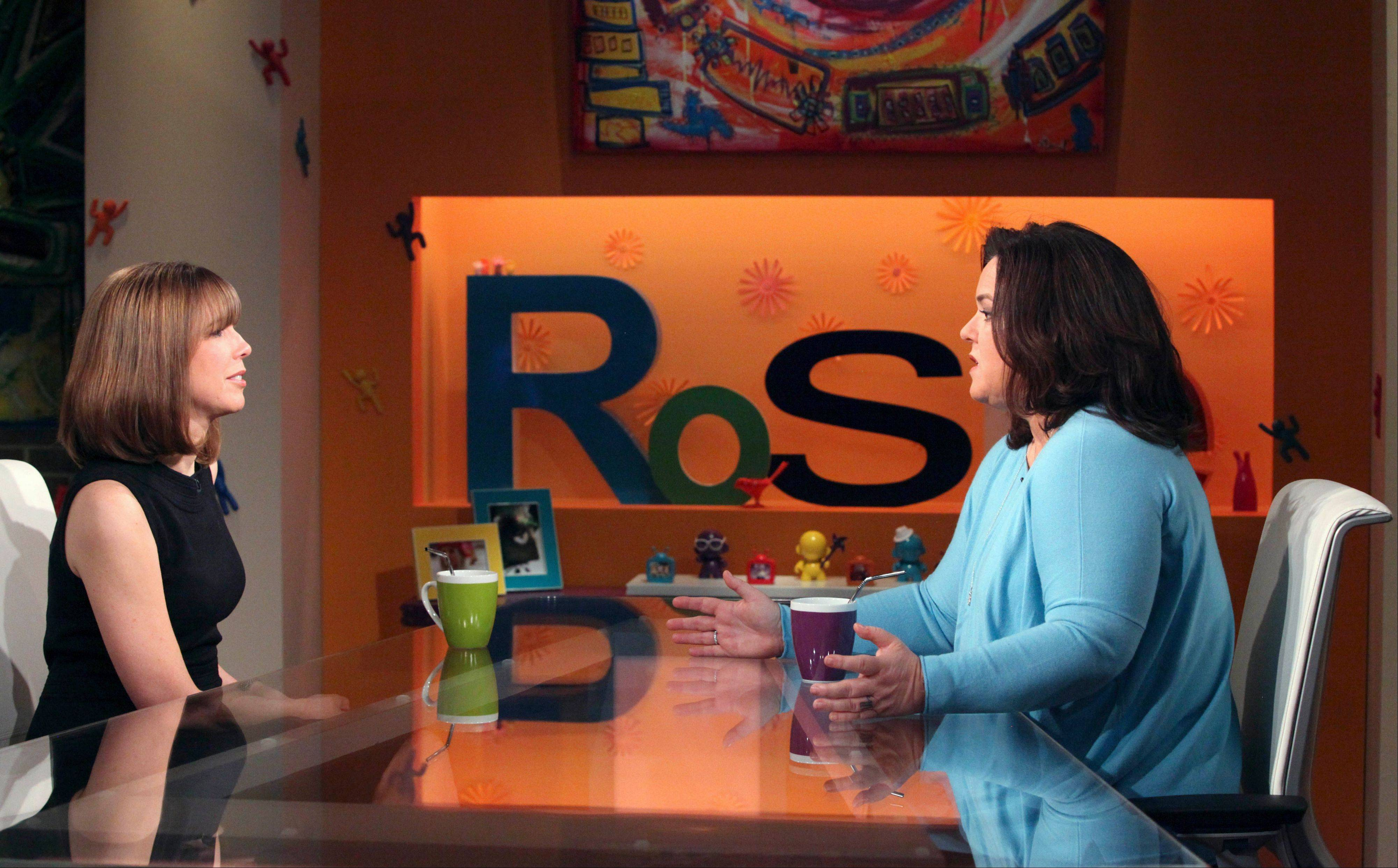 "Talk-show host Rosie O'Donnell interviews former Illinois first lady Patti Blagojevich during a taping of the ""The Rosie Show"" in Chicago. It is her first televised interview since Rod Blagojevich was sentenced to 14 years in prison for corruption."