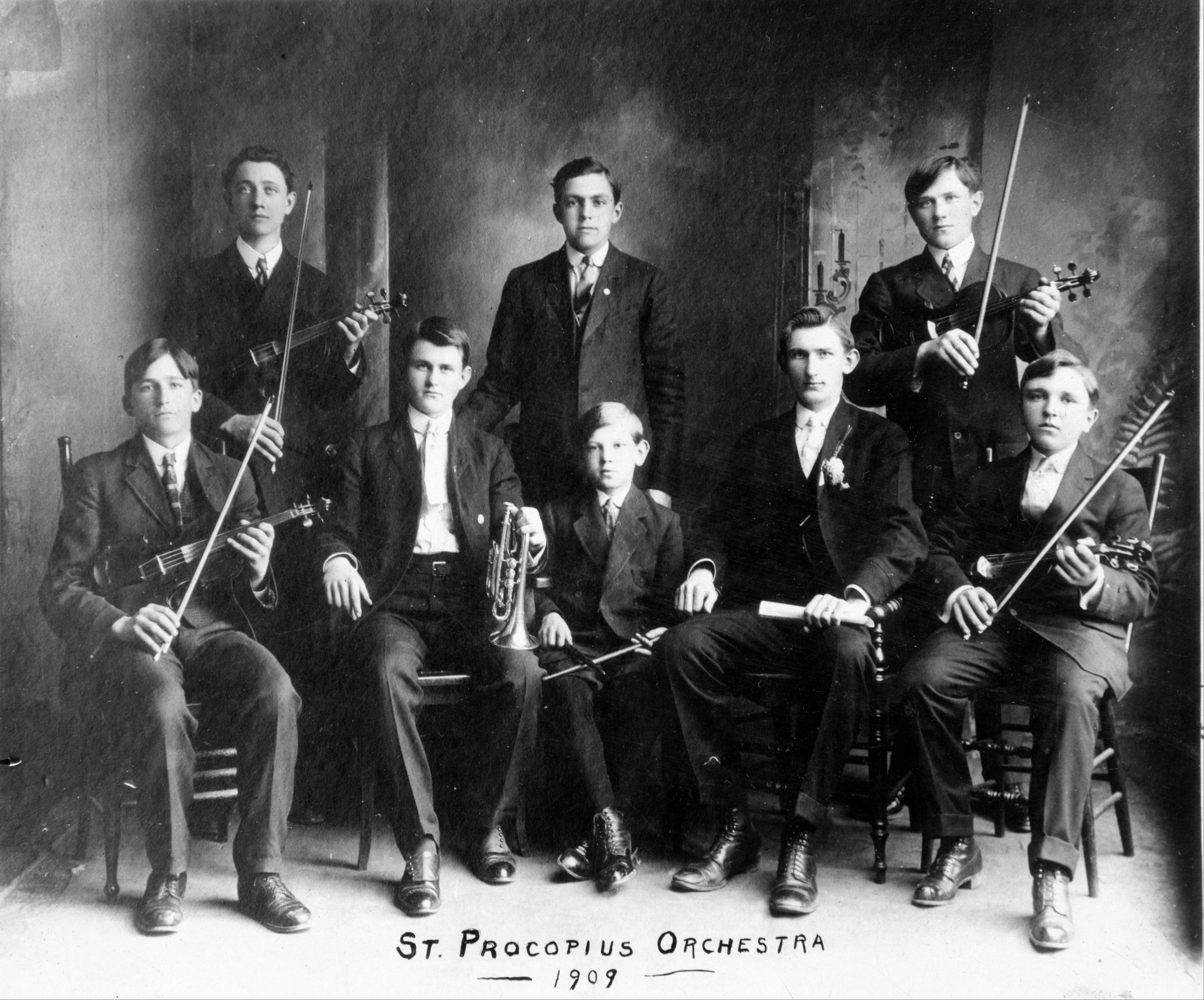 The 1909 St. Procopius Academy orchestra was a precursor to the fine arts programs offered today at Benet Academy.