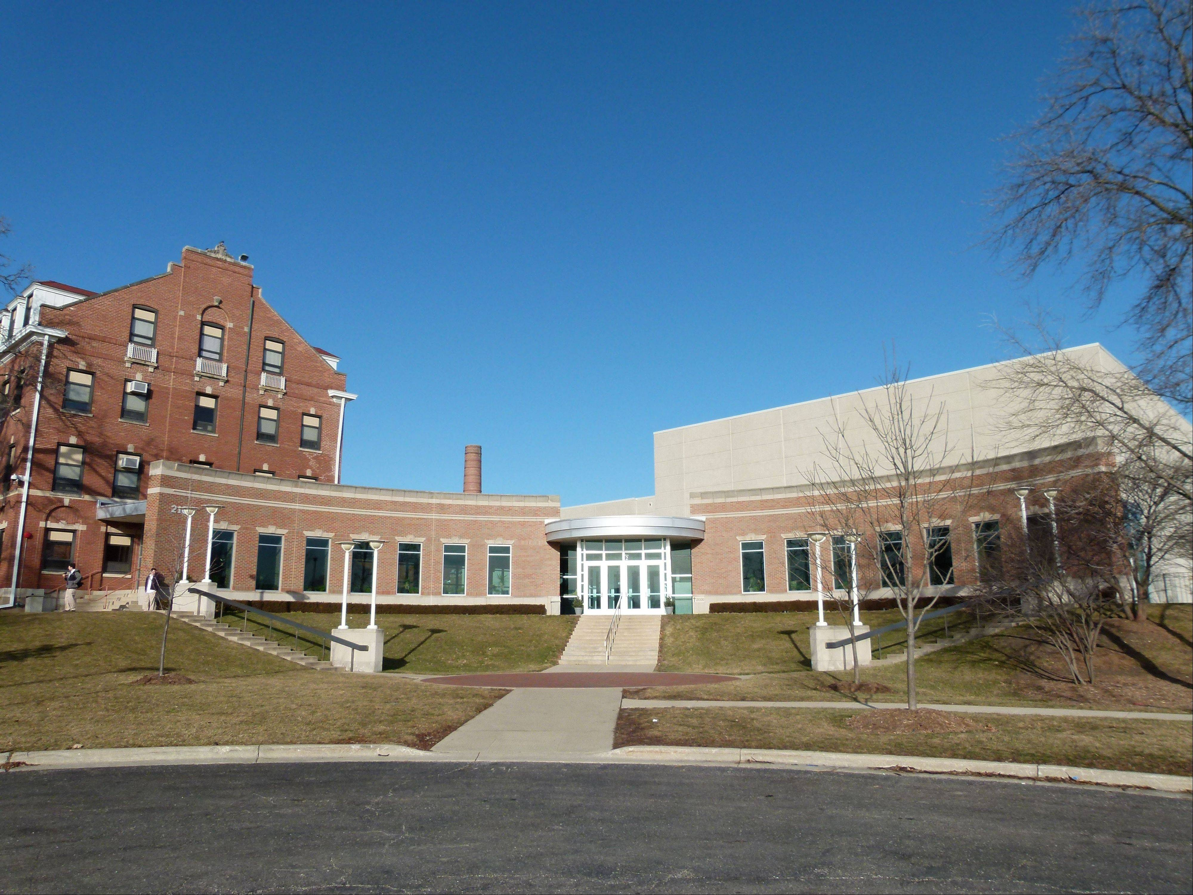 The easternmost building on the campus of Benet Academy is St. Daniel Hall, the performing arts center added in 2001.