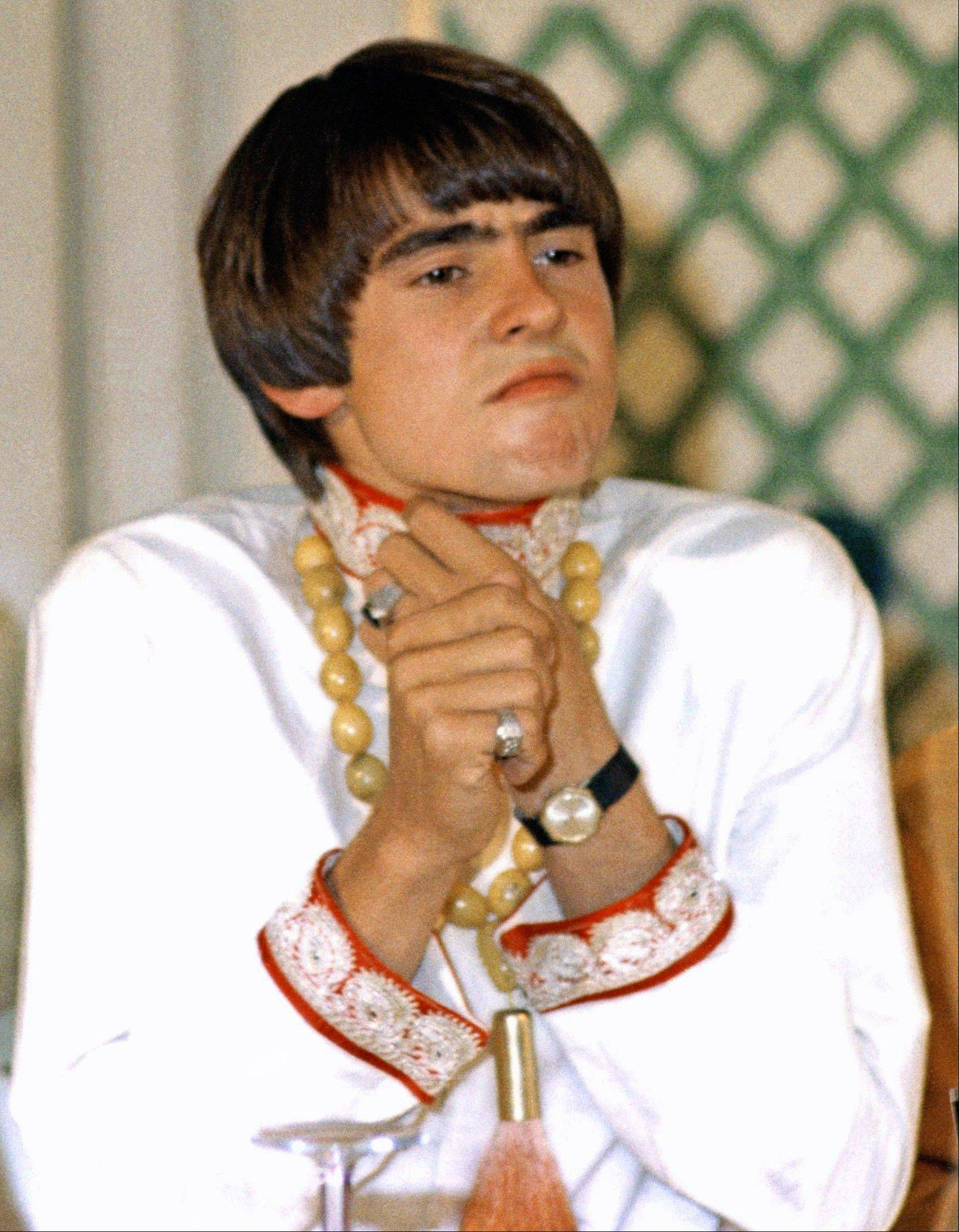 In this July 6, 1967, file photo Davey Jones of Monkees singing group is shown at press conference at Warwick Hotel in New York City.