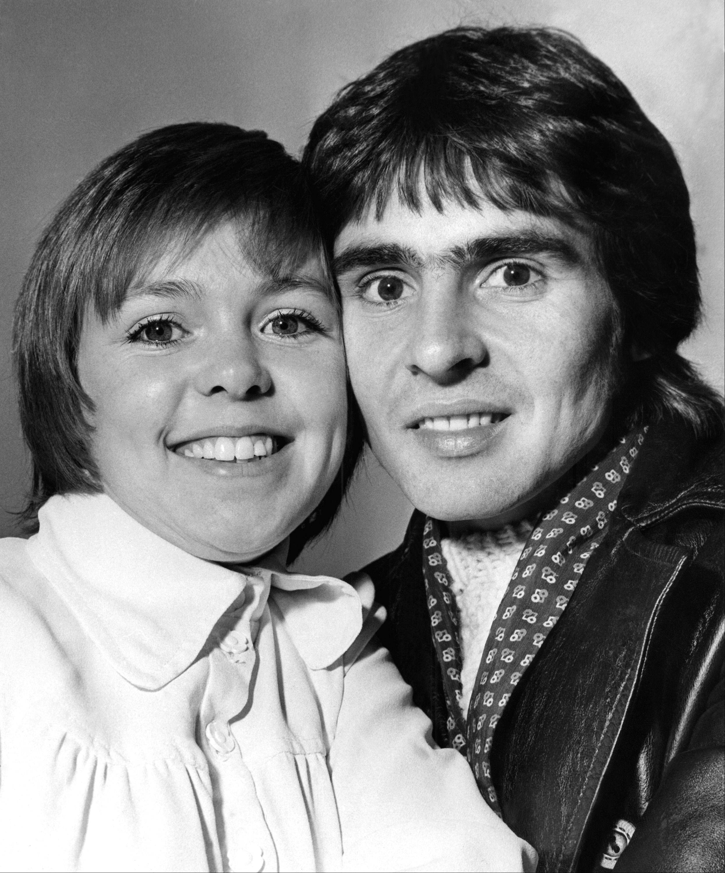 "Davy Jones, lead of the former Pop group, The Monkees. With him, is his newest leading lady, Wendy Padbury, aged 24 from Stratford on Avon and Former Star of the TV series, ""Dr Who"". They are pictured in London Jan. 3, 1972 prior to rehearsals for a stage play, ""Forget me not lane"" They play the parts of young lovers."