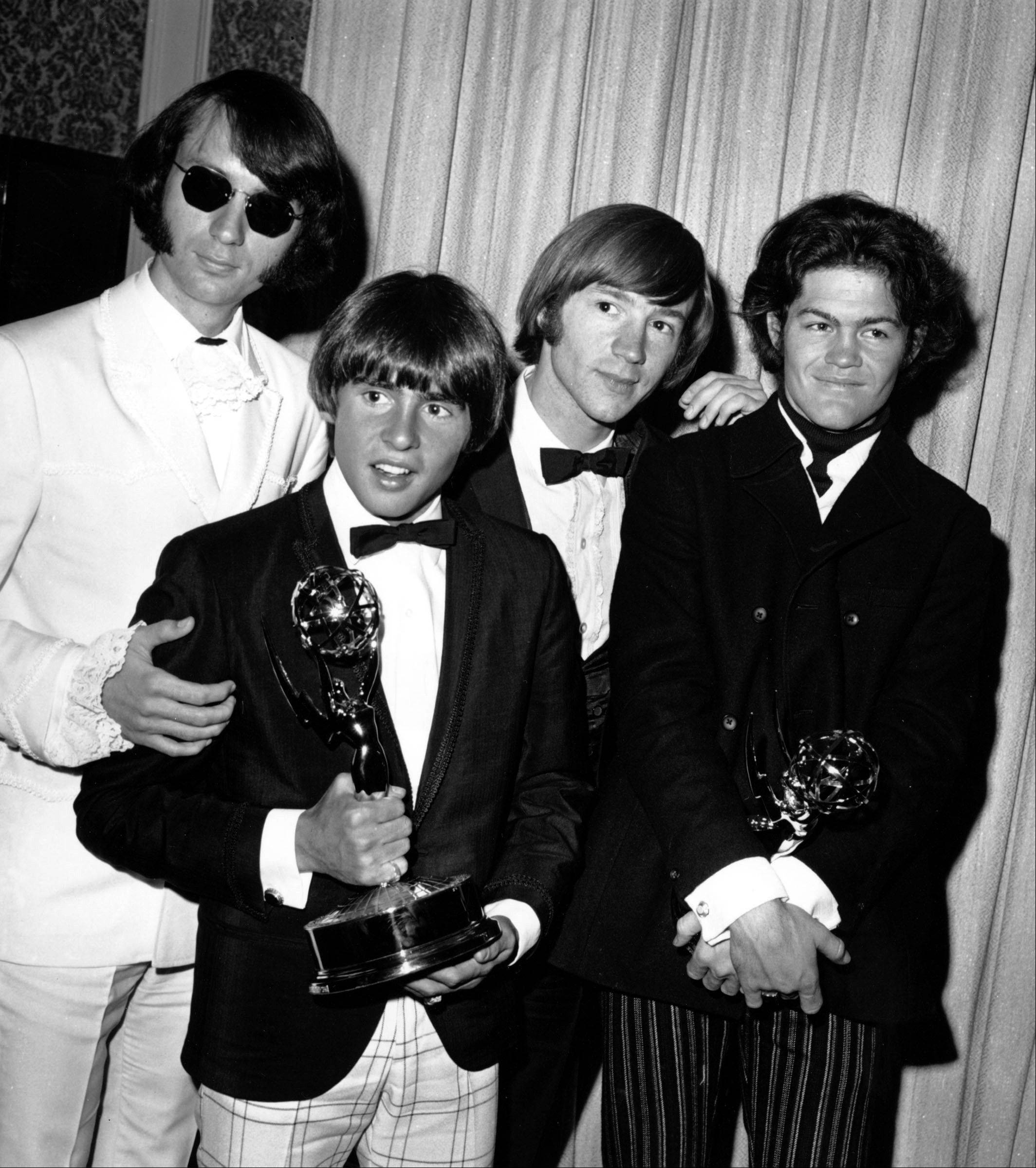 This June 4, 1967 file photo shows The Monkees posing with their Emmy award at the 19th Annual Primetime Emmy Awards in Calif. The group members are, from left to right, Mike Nesmith, Davy Jones, Peter Tork, and Micky Dolenz. Jones died Wednesday Feb. 29, 2012 in Florida. He was 66. Jones rose to fame in 1965 when he joined The Monkees, a British popular rock group formed for a television show.