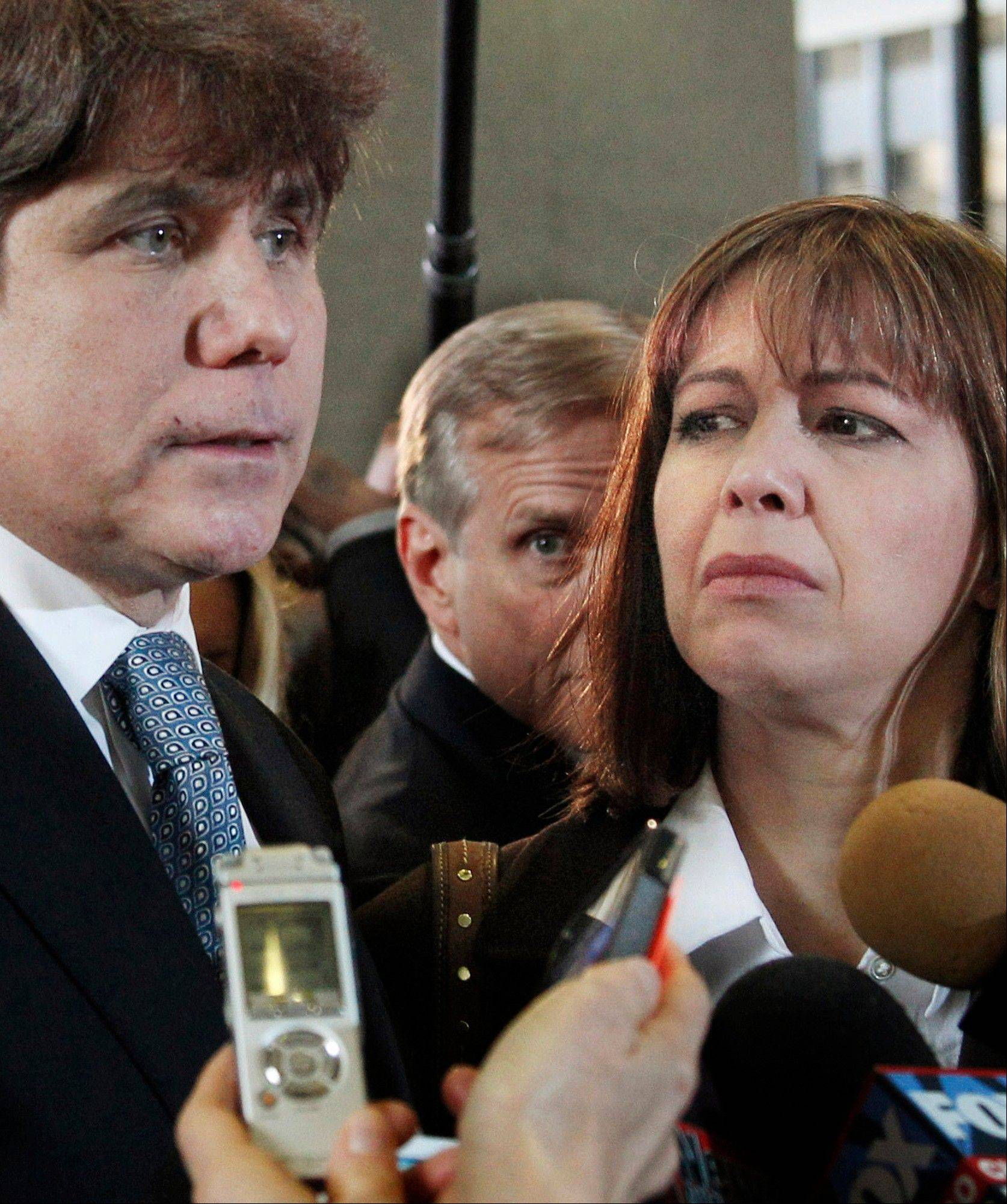 Former Gov. Rod Blagojevich speaks to reporters in December after being sentenced for 14 years in prison on 18 corruption counts, including trying to auction off President Barack Obama's old Senate seat.