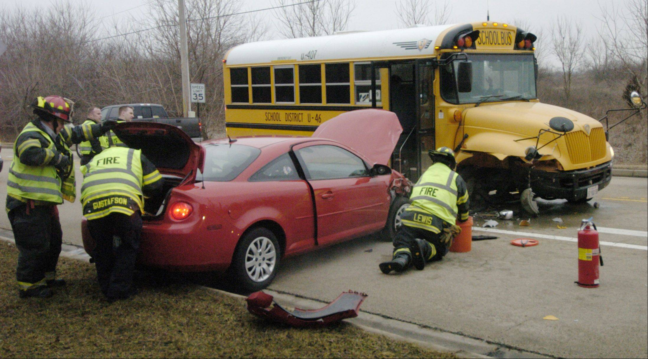 Bartlett police and firefighters responded to the scene of a crash between a school bus and a car at the intersection of South Bartlett and Schick roads, just east of Bartlett High School, Thursday morning. There were no students aboard the bus, police said.