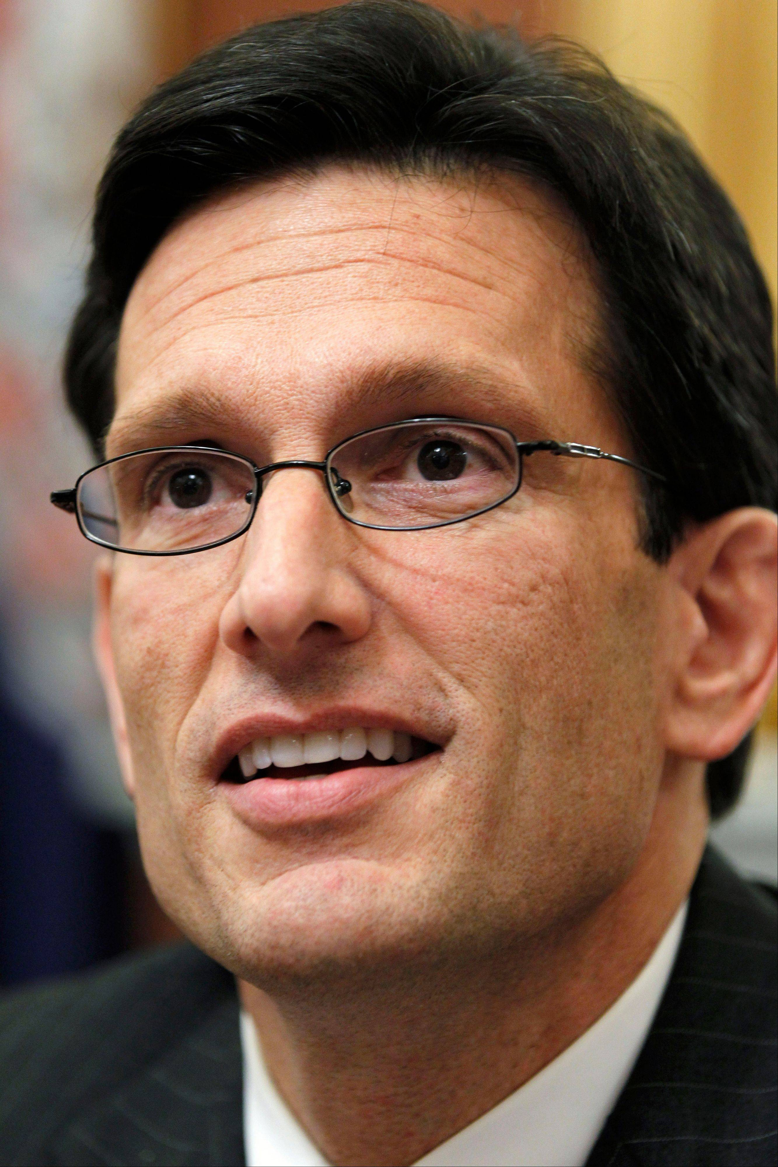 House Majority Leader Eric Cantor, R-Va., meets with reporters in his office on Capitol Hill in Washington.