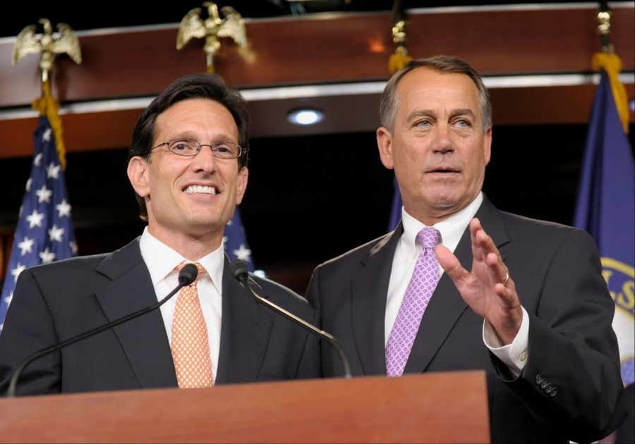 House Speaker John Boehner of Ohio, right, stands with House Majority Leader Eric Cantor of Virginia during a news conference on Capitol Hill in Washington, D.C.