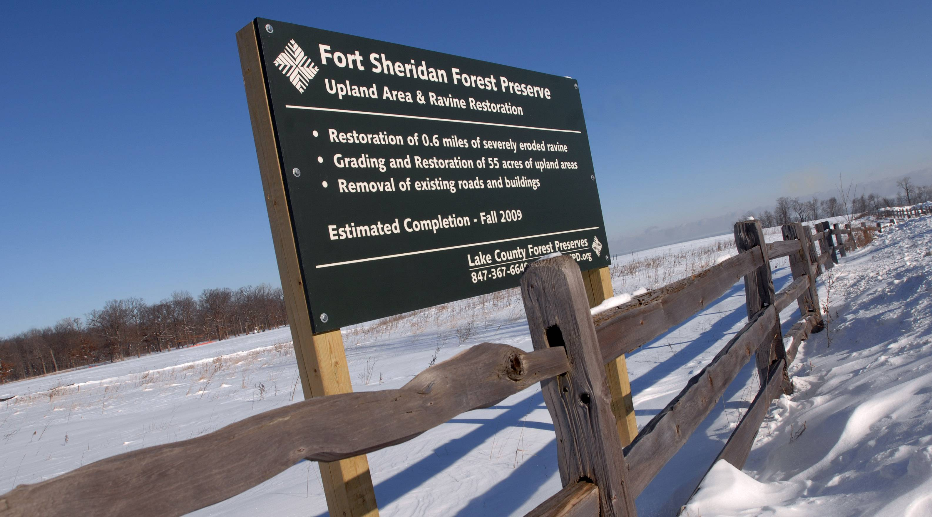 PAUL VALADE/pvalade@dailyherald.com, 2009  Lake County Forest Preserve District officials could vote to ask the U.S. Army to let them abandon golf plans at the Fort Sheridan Forest Preserve near Highland Park. The Army used to own the land.