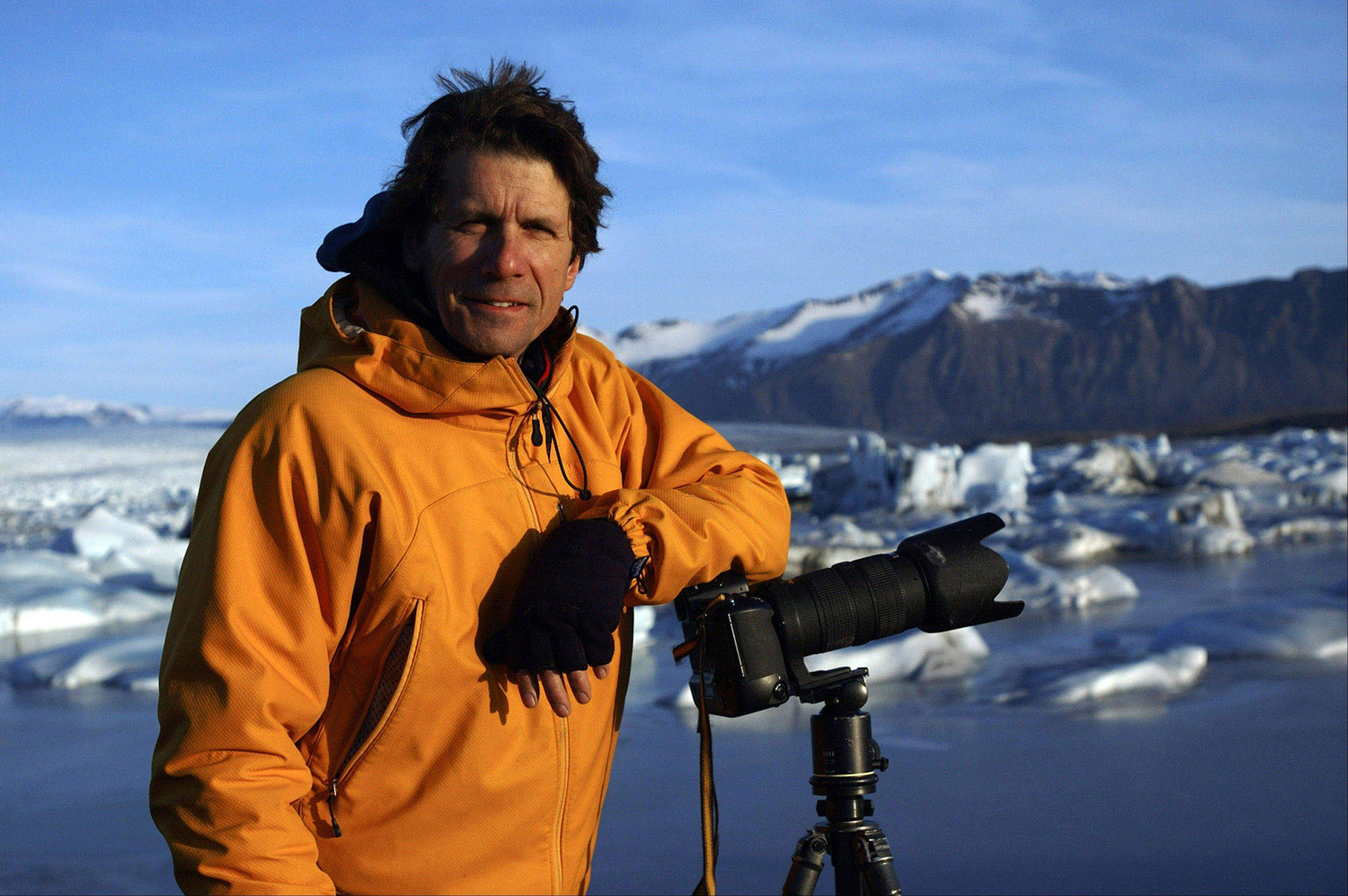 James Balog, a scientist and nature photographer, shown in Jokulsarlon, Iceland, founded Extreme Ice Survey to capture the melting of glaciers with time-lapse photography.