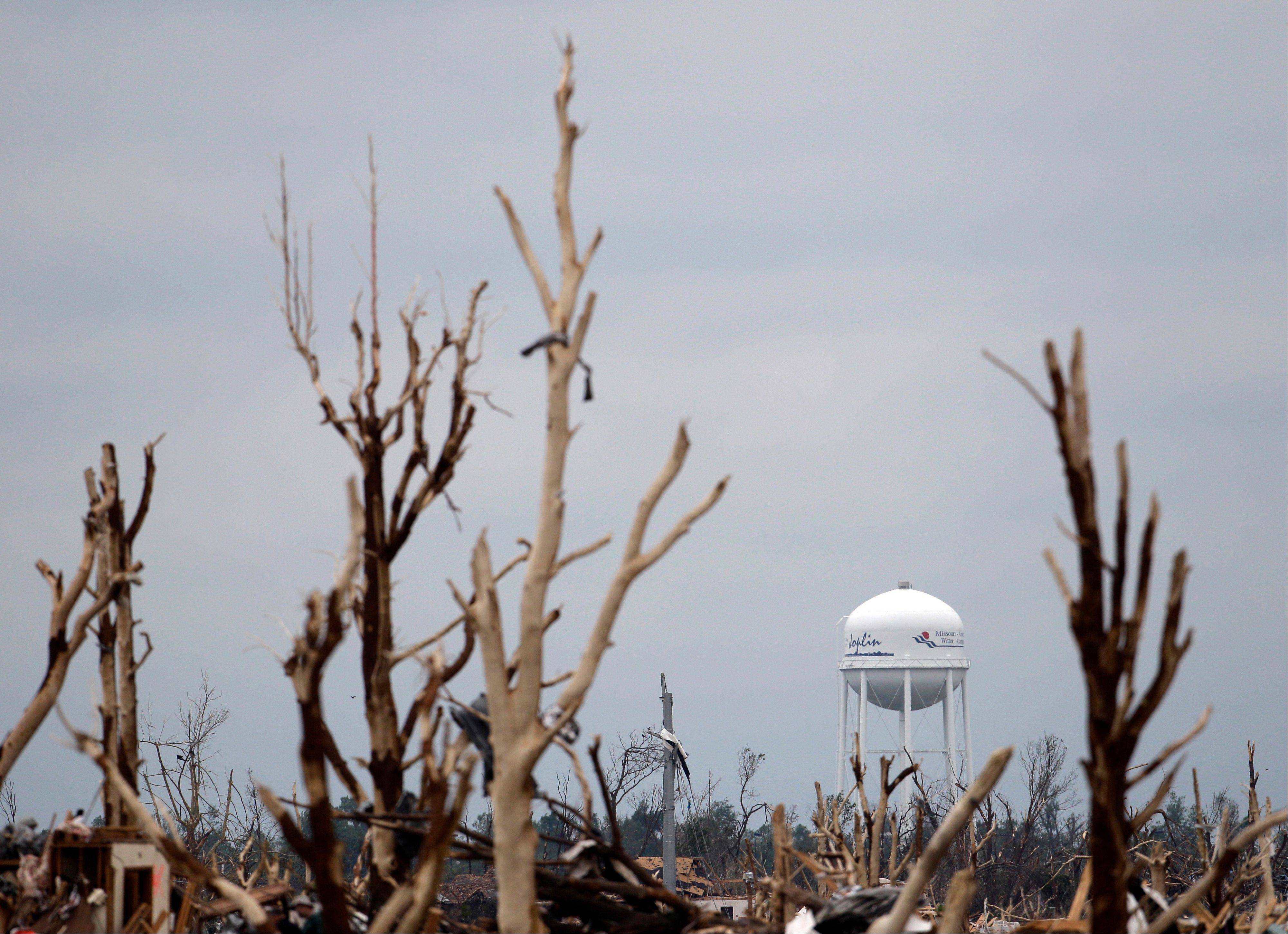 A water tower stands among tattered trees in a devastated Joplin, Mo. neighborhood Thursday, May 26, 2011. An EF-5 tornado tore through much of the city Sunday, damaging a hospital and hundreds of homes and businesses and killing at least 125 people.
